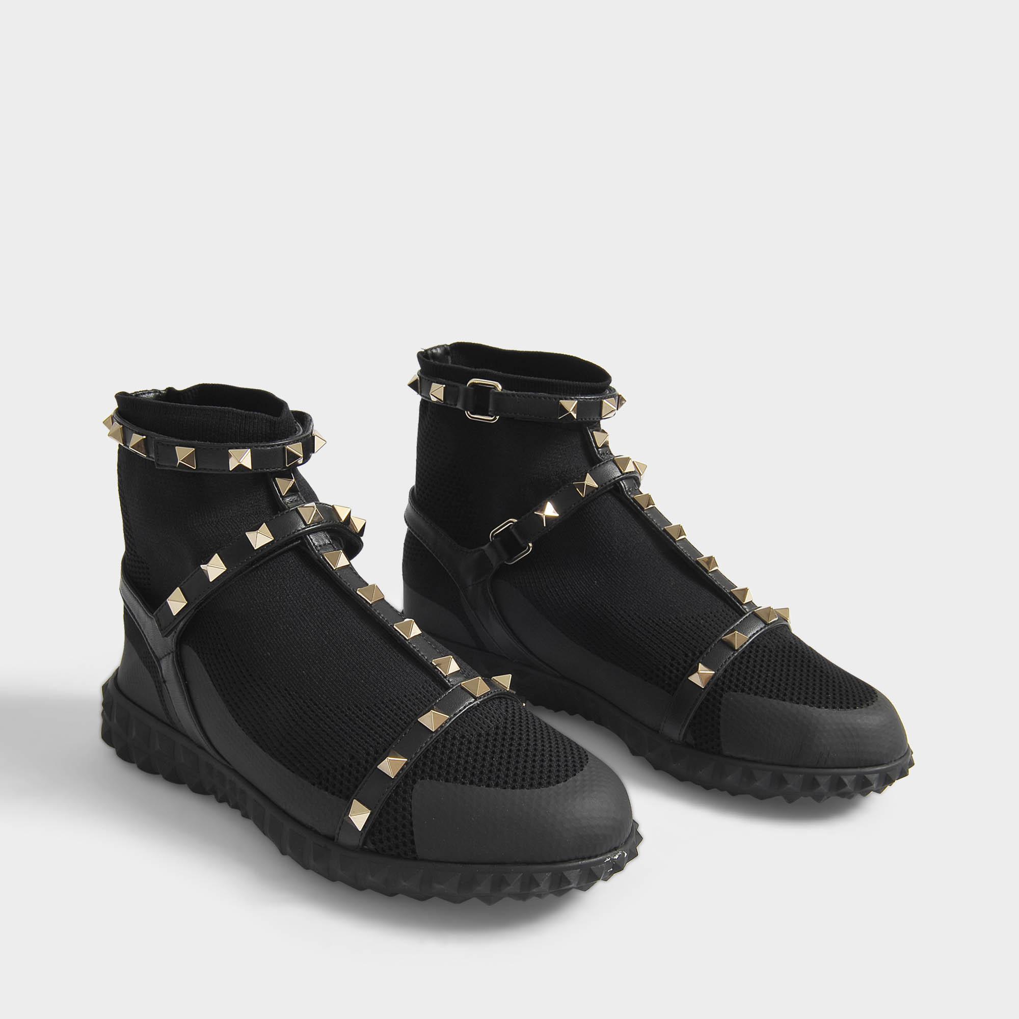 Rockstud Bodytech Hightop Sneakers in Black Nylon Valentino uMF3zED