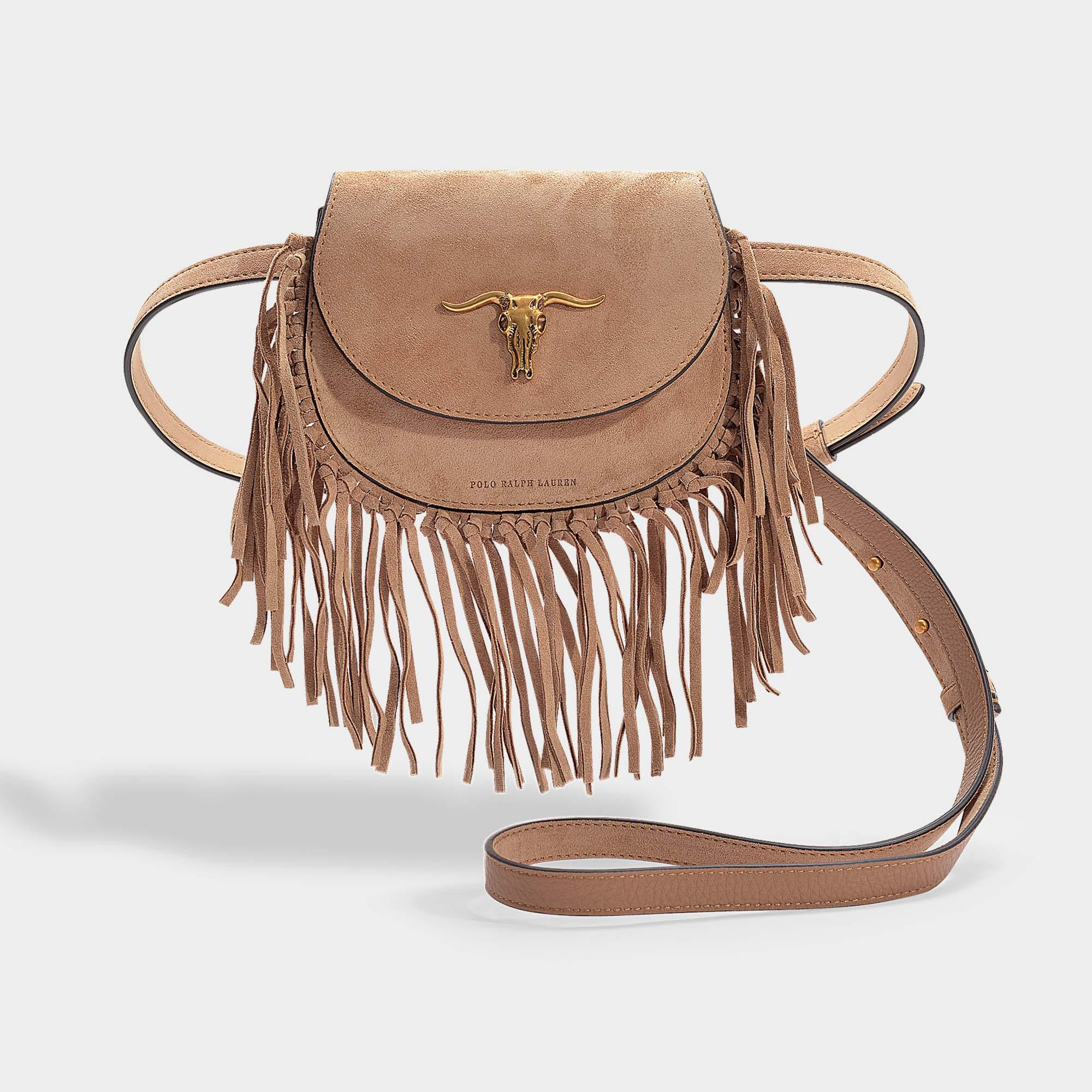 3ec2e659b2db Lyst - Polo Ralph Lauren Montana Fringe Small Crossbody Bag In Brown ...