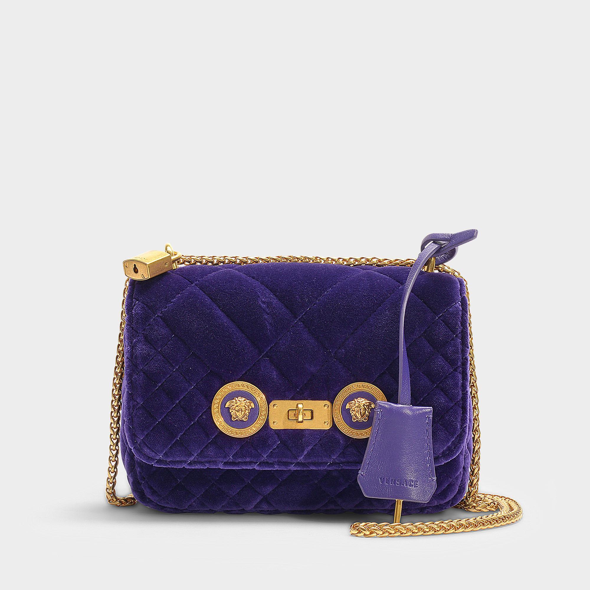 Lyst - Versace Small Icon Shoulder Bag In Purple Velvet in Purple 75db94799fe43