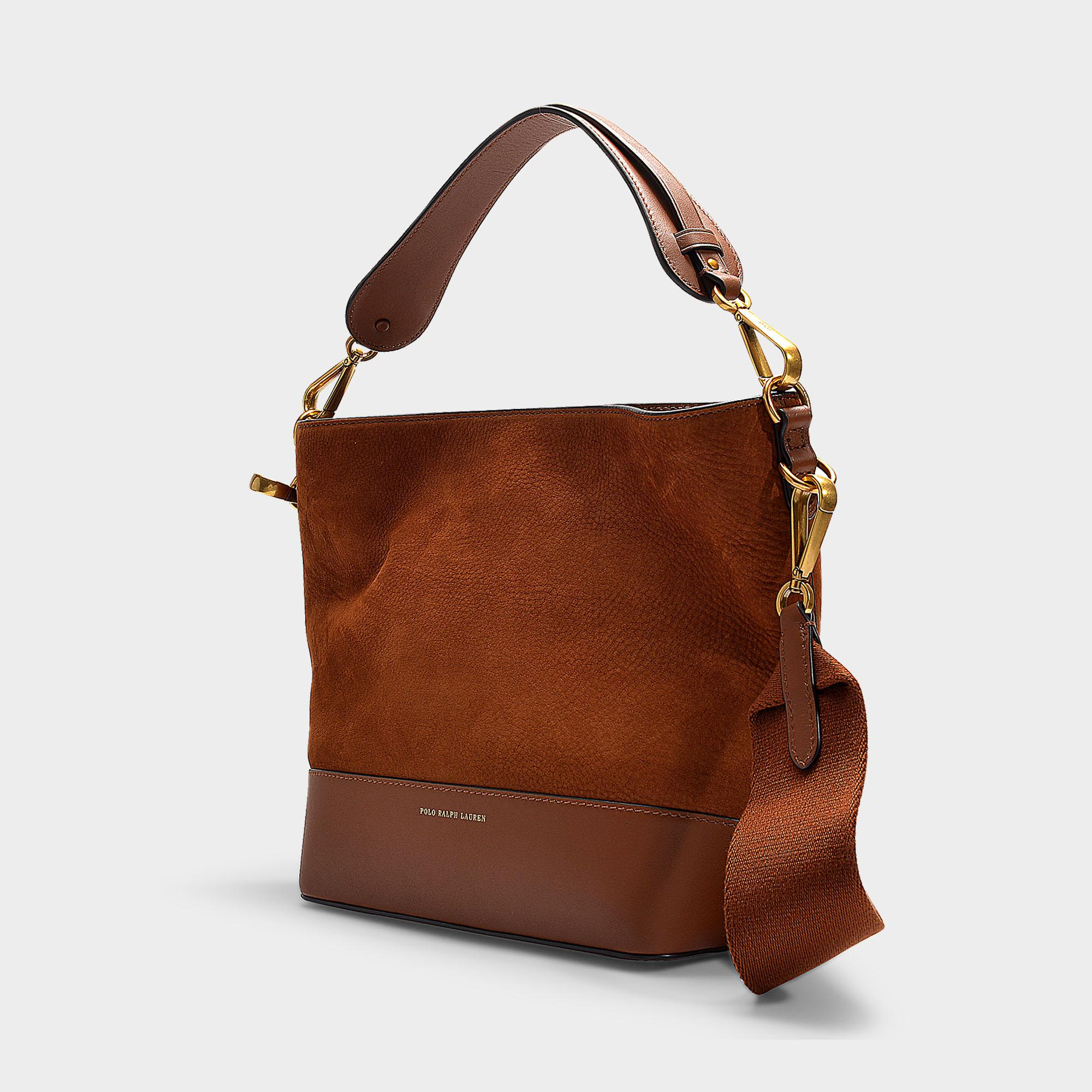 d9d665089d Polo Ralph Lauren - Brown Sullivan Bucket Hobo Small Bag In Saddle Nubuck  And Nappa Leather. View fullscreen