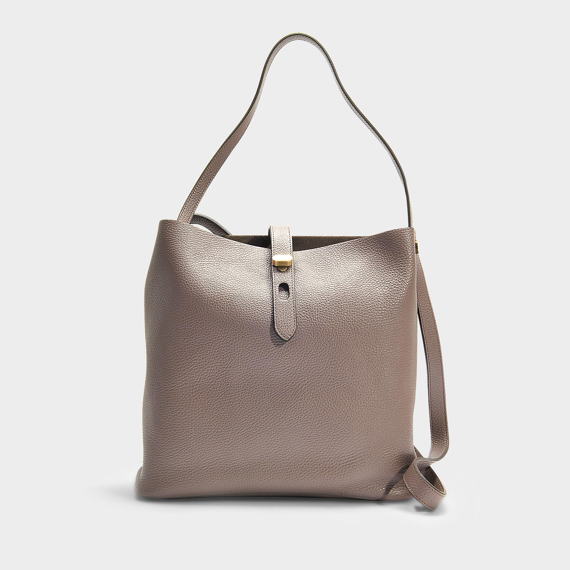 Lyst - Hogan Hobo Iconic Media Bag In Taupe Grained Calfskin in Natural a6127d1953f97