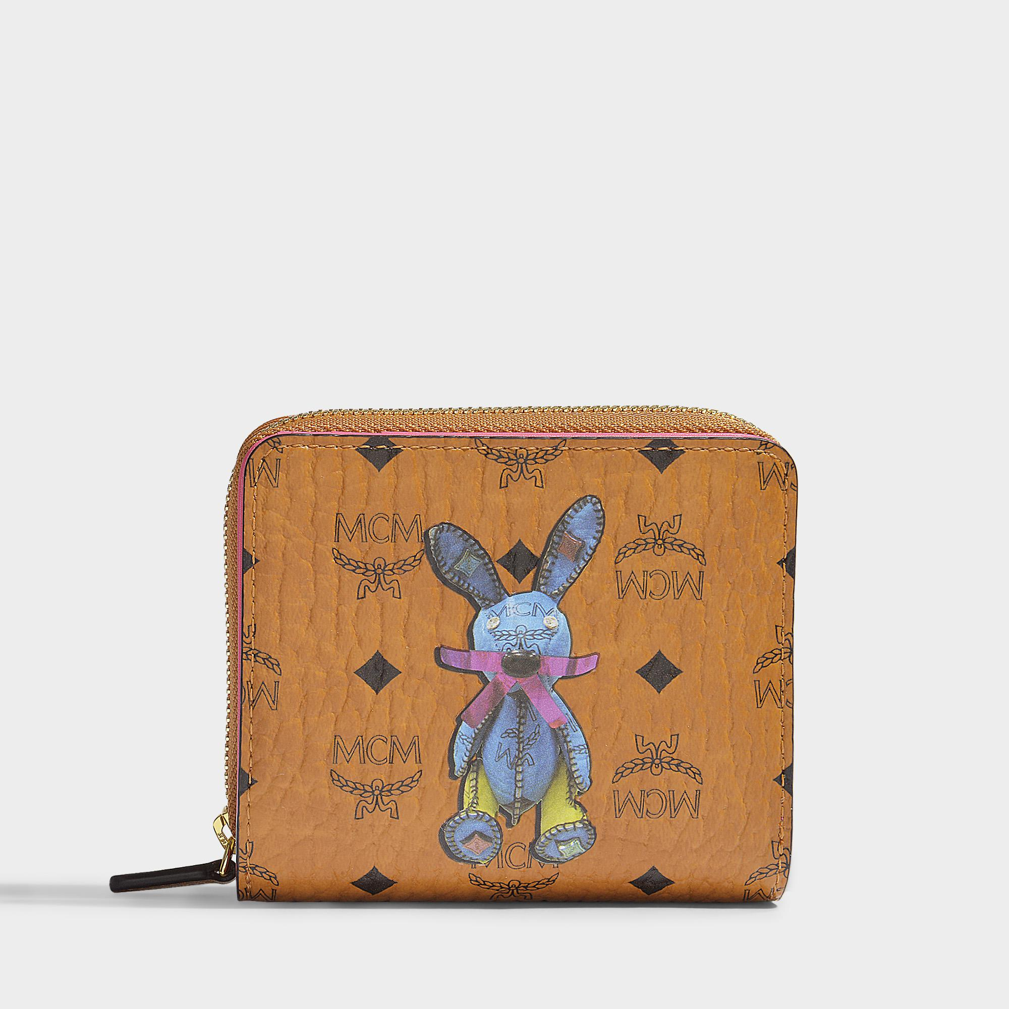 Mini Rabbit Zip Around Wallet in Cognac Visetos MCM ENos8ICO