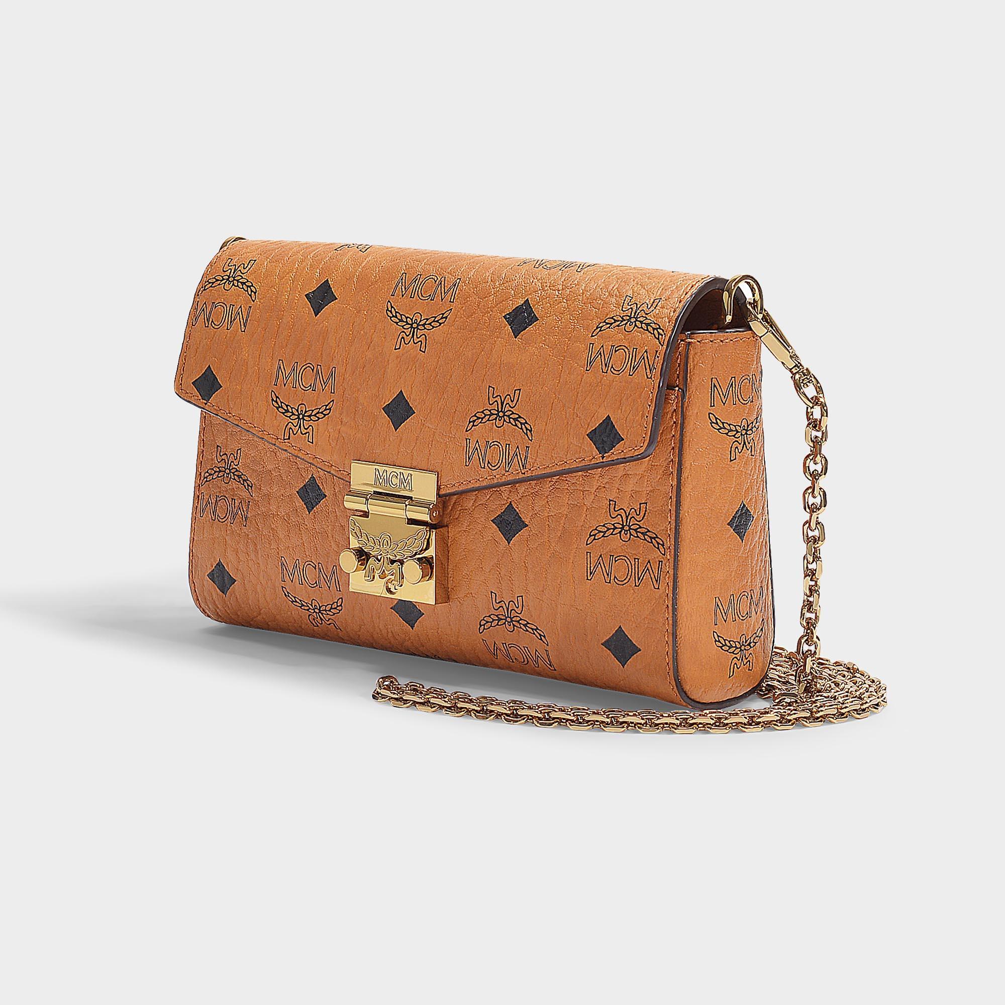 2c6197623 MCM Millie Visetos Small Crossbody Bag In Cognac Coated Canvas in ...