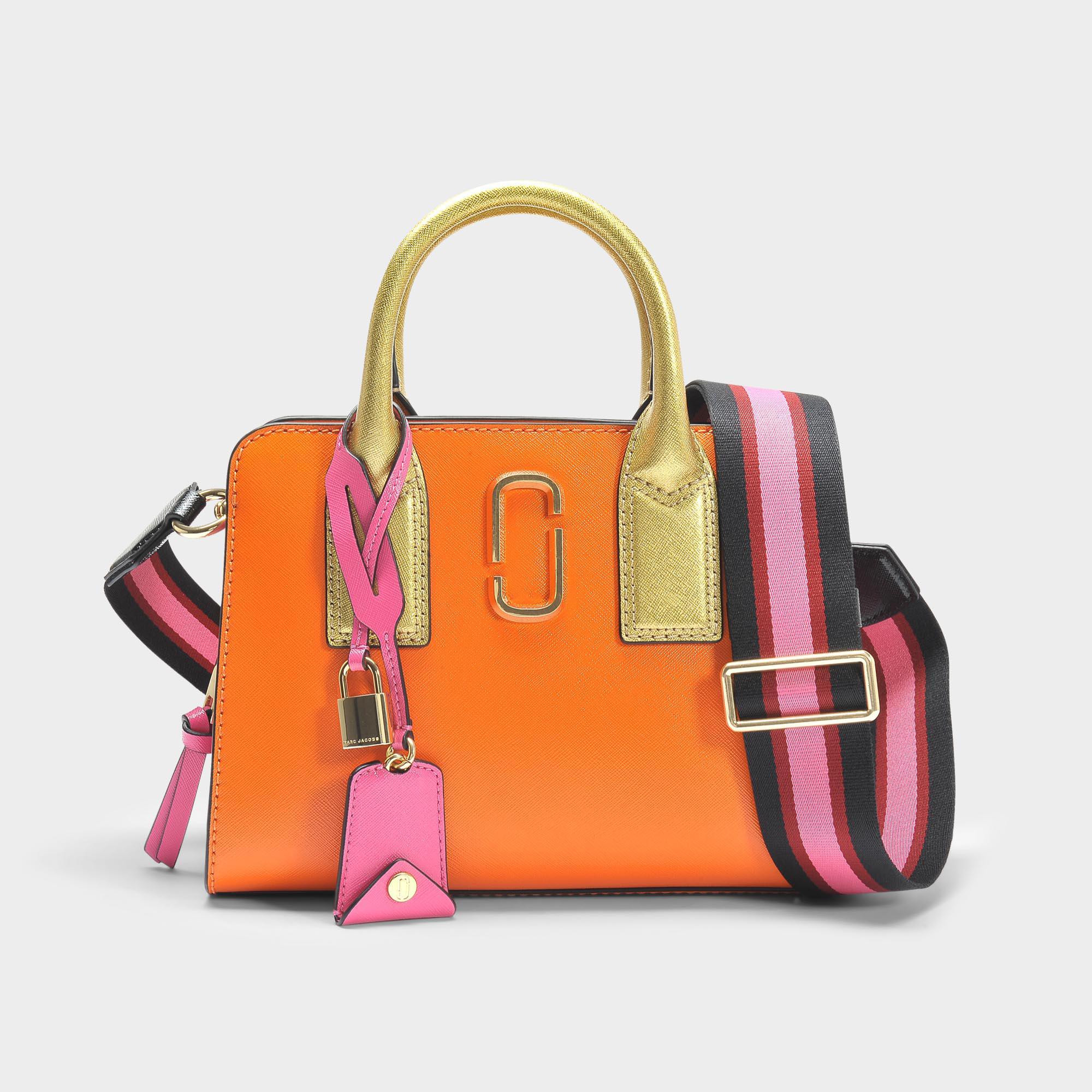 Marc Jacobs Sac Little Big Shot en Cuir Craquelé Orange 4iAGBQY