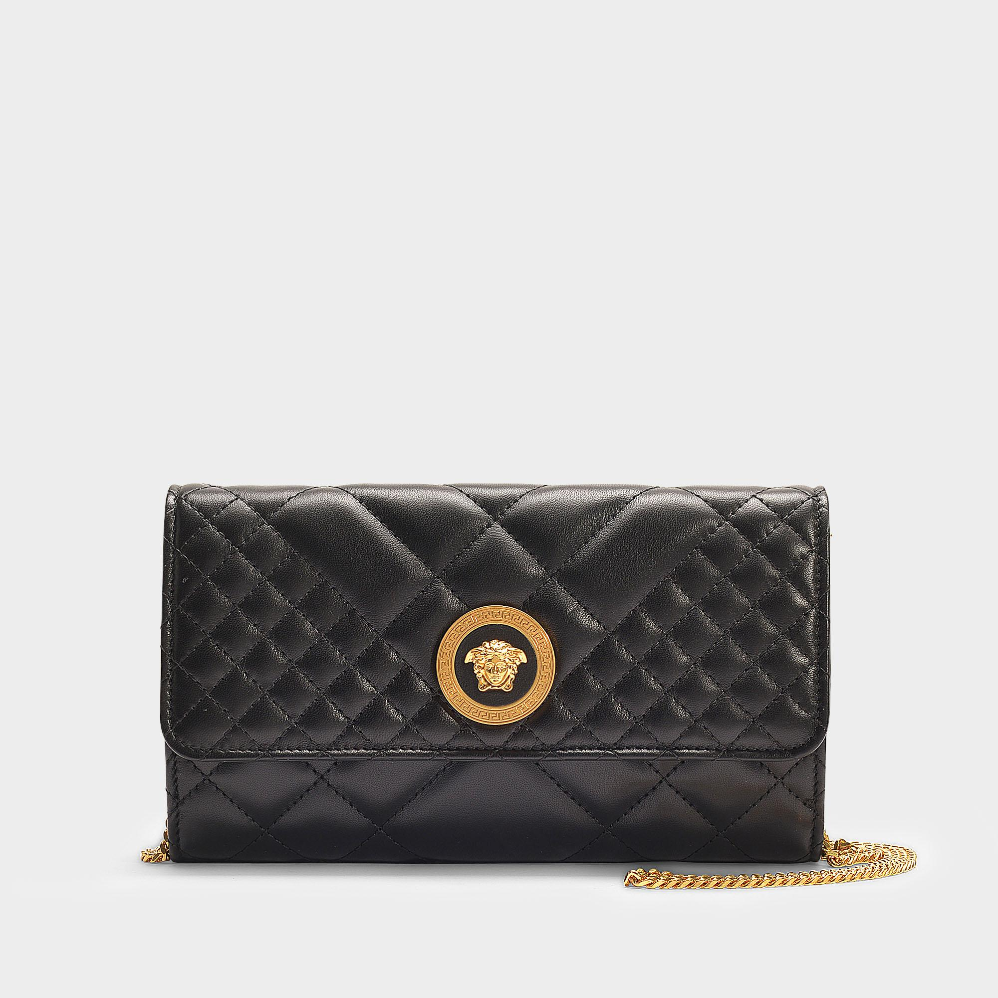 Lyst - Versace Medusa Evening Bag In Black Quilted Nappa Leather in ... 4d315b845d43f