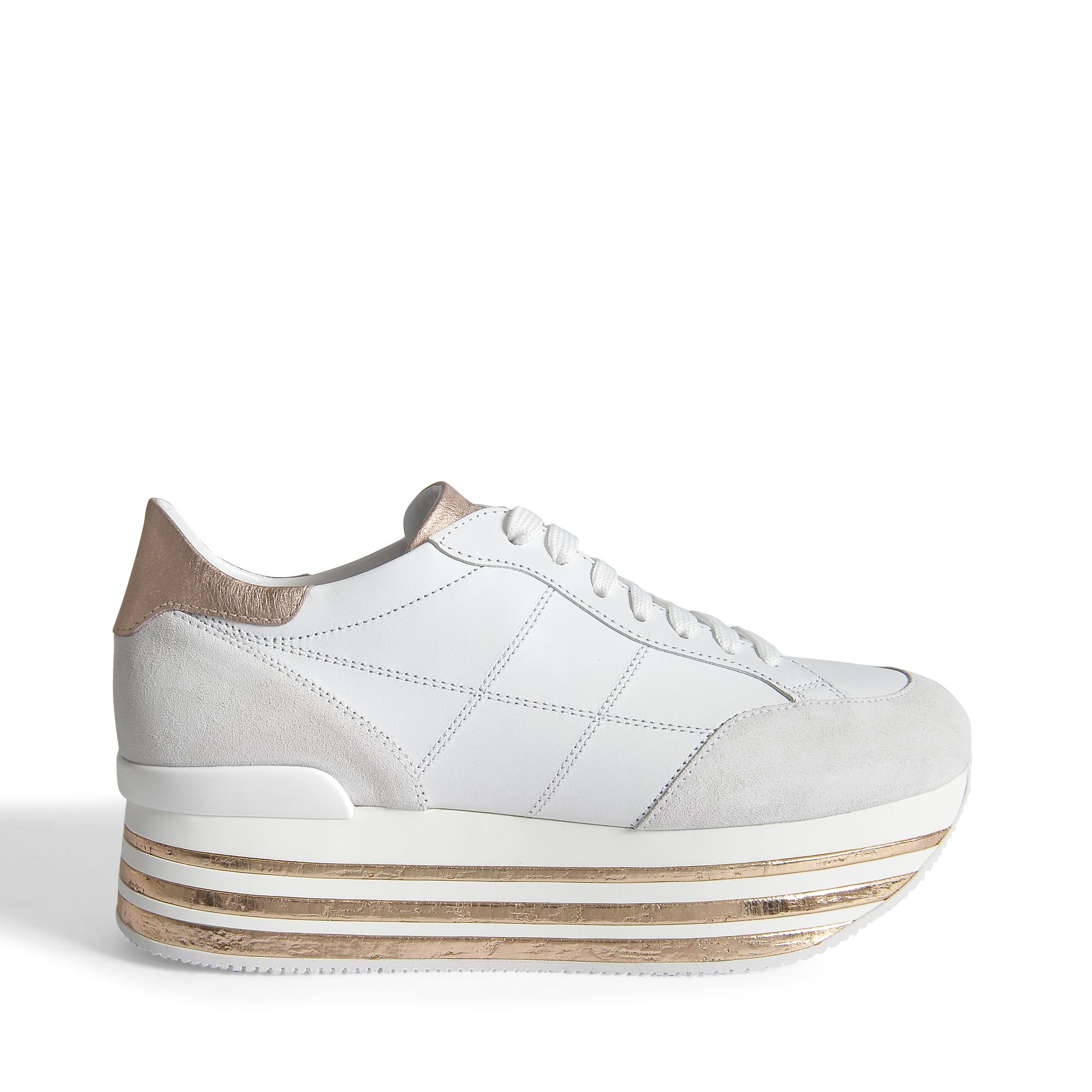 H349 Maxi Platform Sneakers with Cork Detail in White and Rose Gold Leather and Cork Hogan 6PfKn