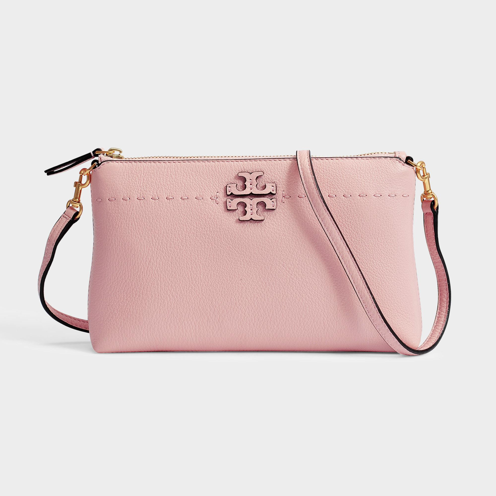 e50ddb90c07a Lyst - Tory Burch Mcgraw Top Zip Crossbody Bag in Pink