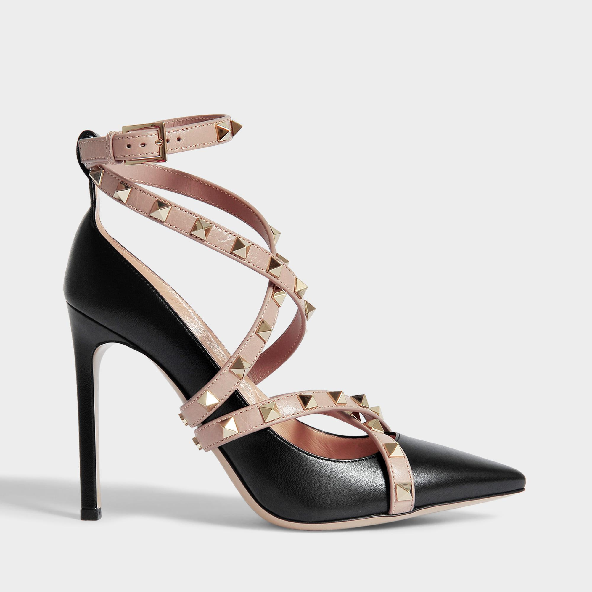 7eeb3baca326 Valentino Rockstud Pointed Pumps With Ankle Strap In Black And ...