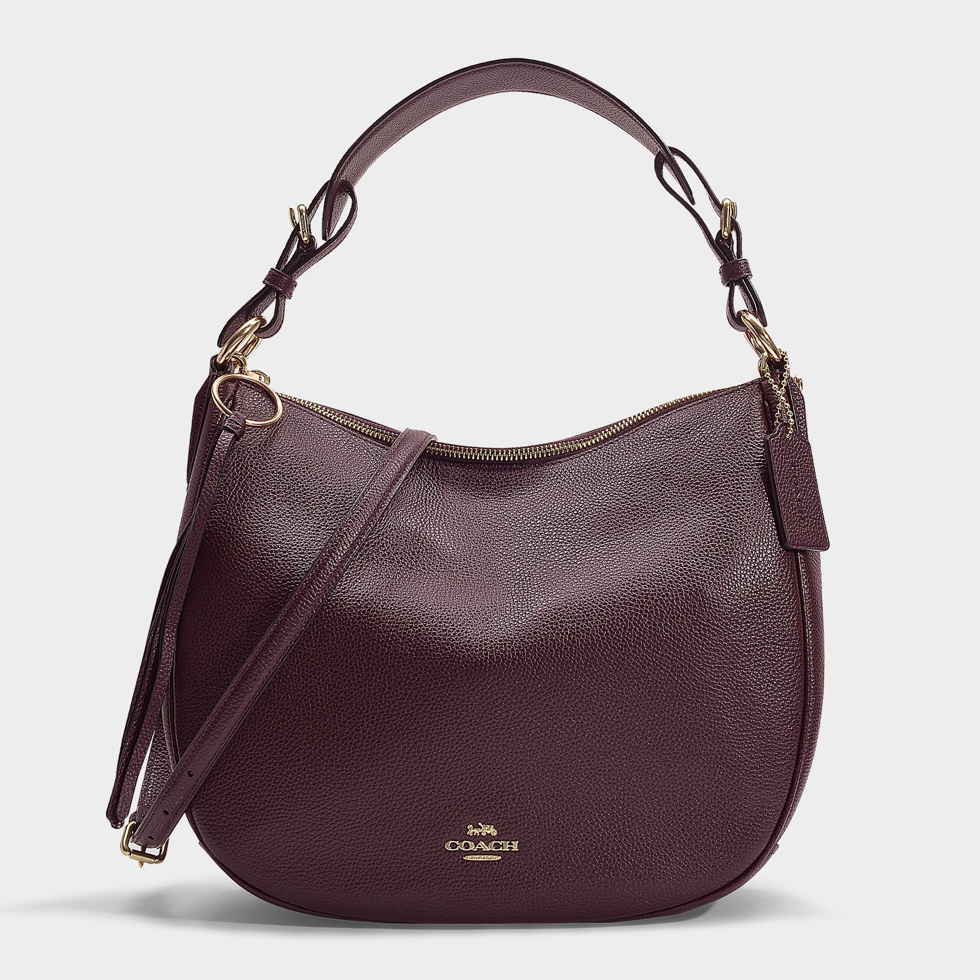 d3367f57db58 COACH - Red Polished Pebble Leather Sutton Hobo Bag In Burgundy Calfskin -  Lyst. View fullscreen