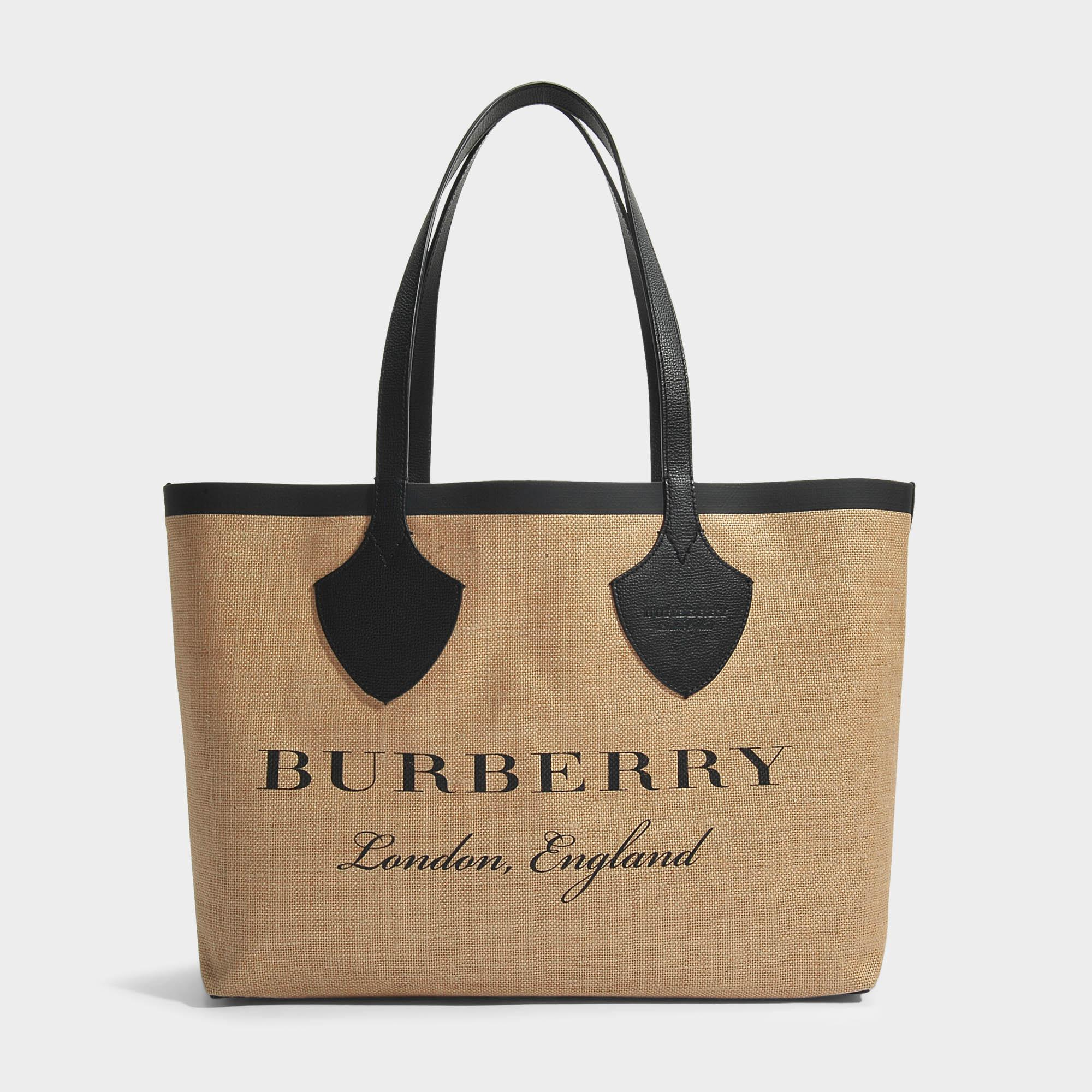 The Giant Medium Tote Bag in Chalk White Jute Stripes Burberry NEkRusA