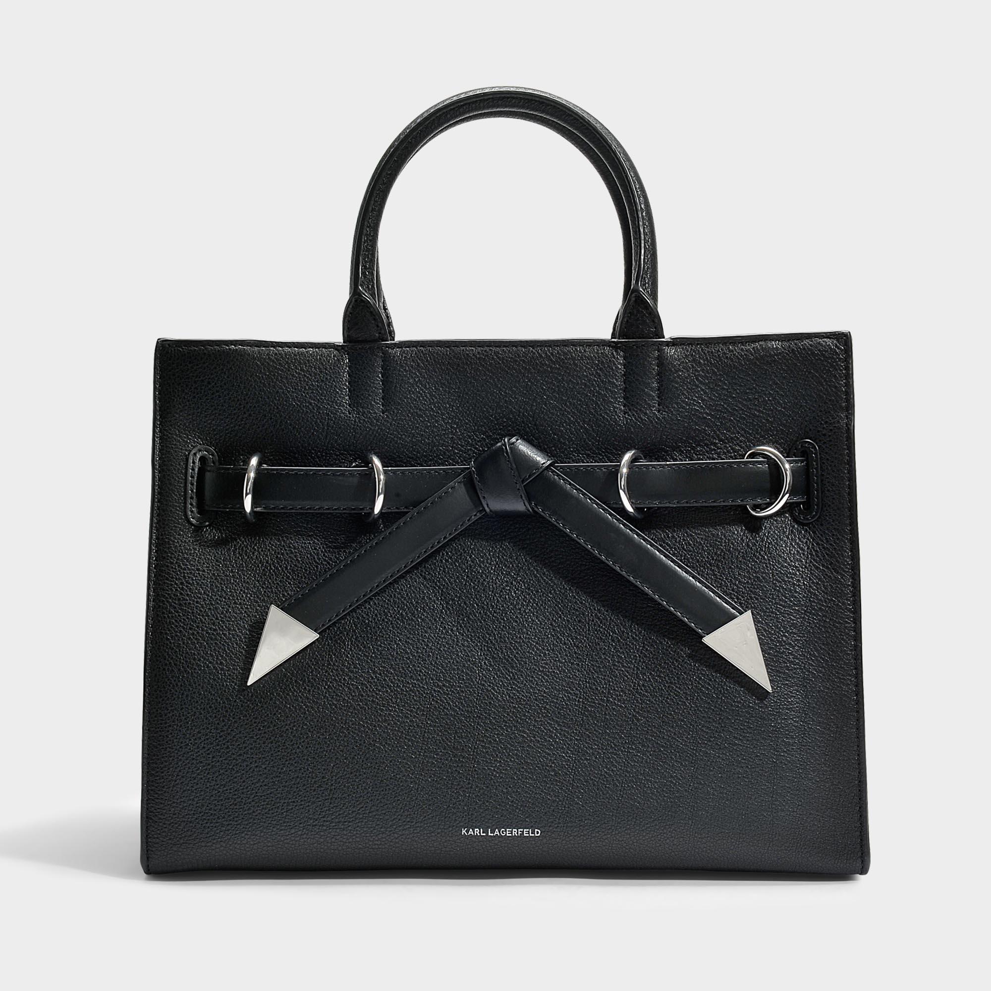 Karl Lagerfeld Sac Shopper K/Rocky Bow en Cuir de Veau Grainé Noir 7RXwd