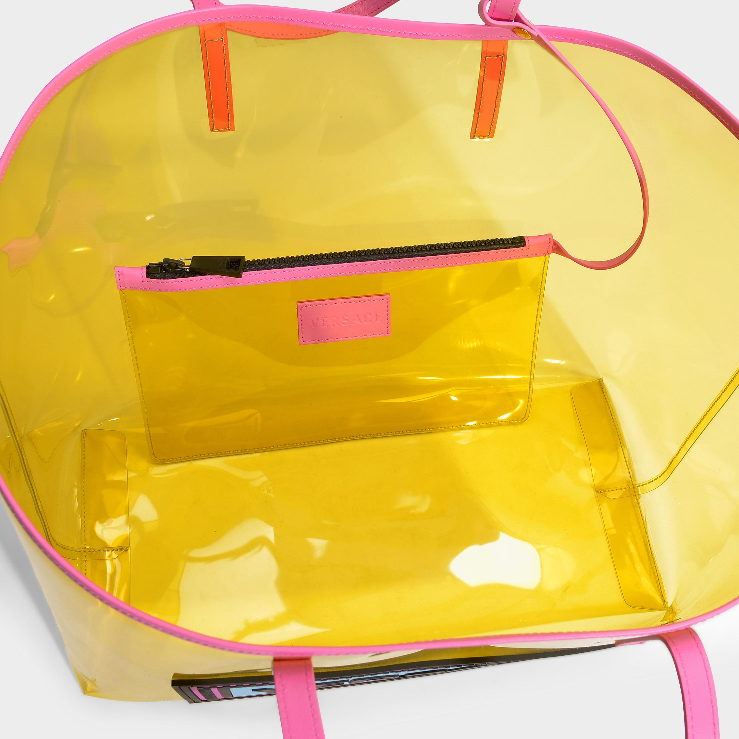 ba02ff8b760 Tap to visit site. Versace - 90's Vintage Logo Soft Tote In Yellow Clear  Vinyl - Lyst