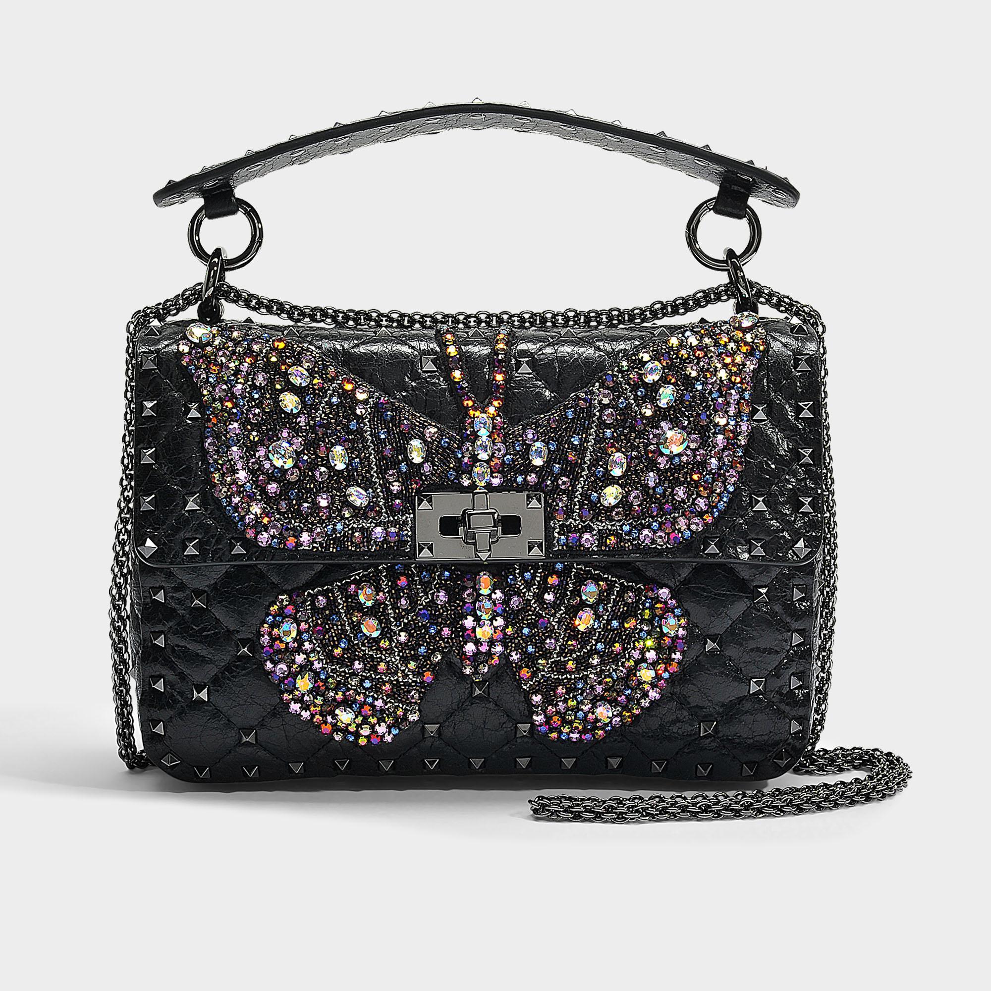 32b10f01a5 Valentino Rockstud Spike It Butterfly Medium Shoulder Bag In Black ...