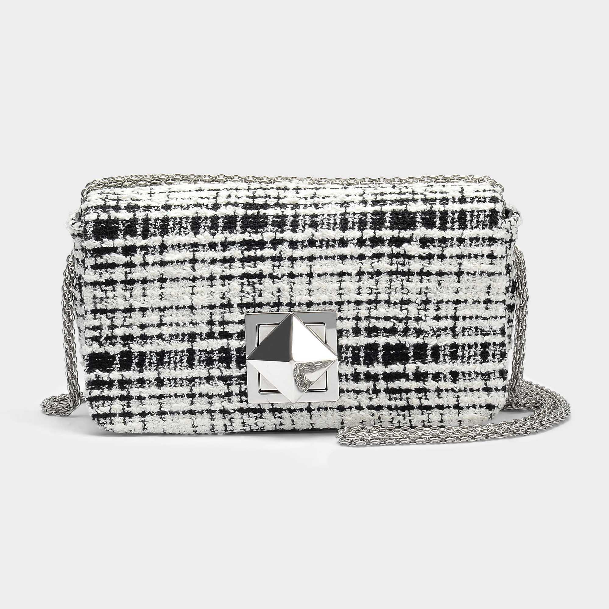 Sonia Rykiel Le Copain Sac Moyen En Tweed Noir Et Blanc DMVaFe