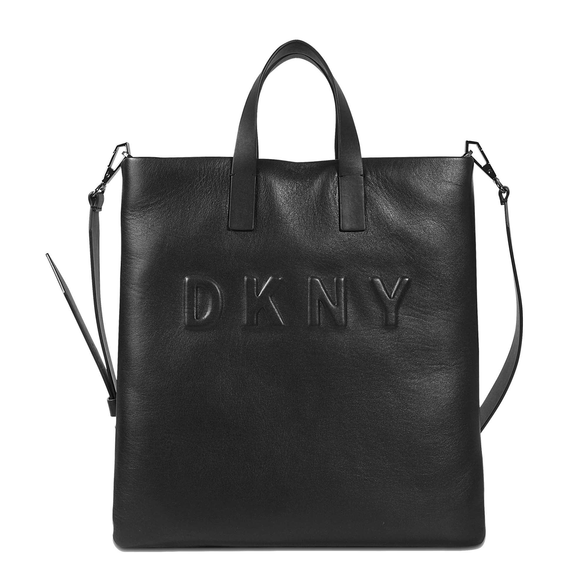 Dkny Debossed Logo Tote Bag in Black