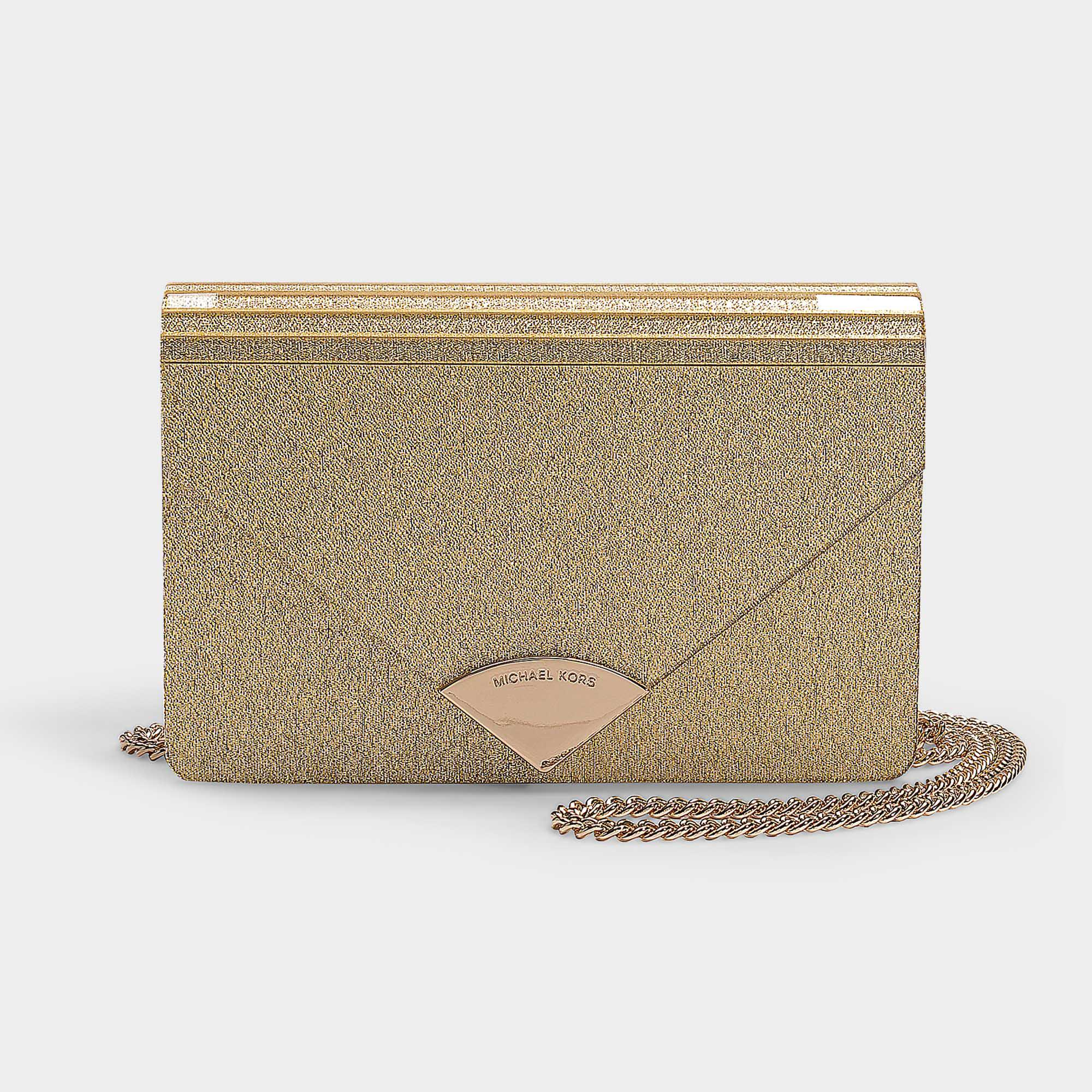 c6a36960f1f8 MICHAEL Michael Kors Barbara Medium Envelope Clutch Bag In Pale Gold ...