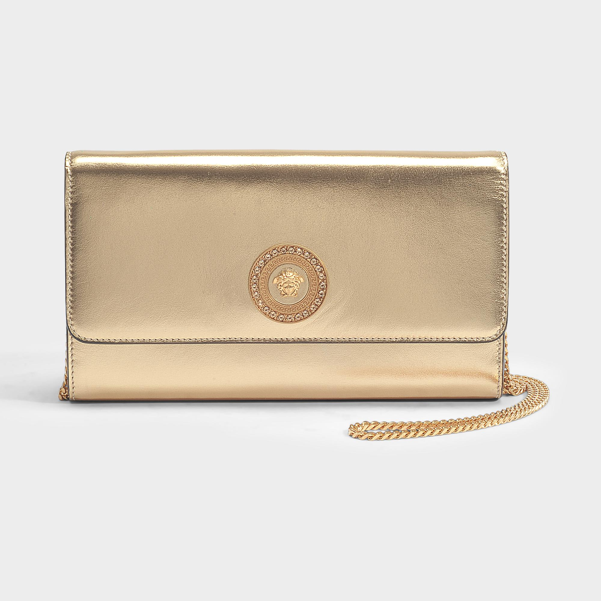 6748a8108f Lyst - Versace Tribute Icon Evening Bag In Gold Nappa Leather
