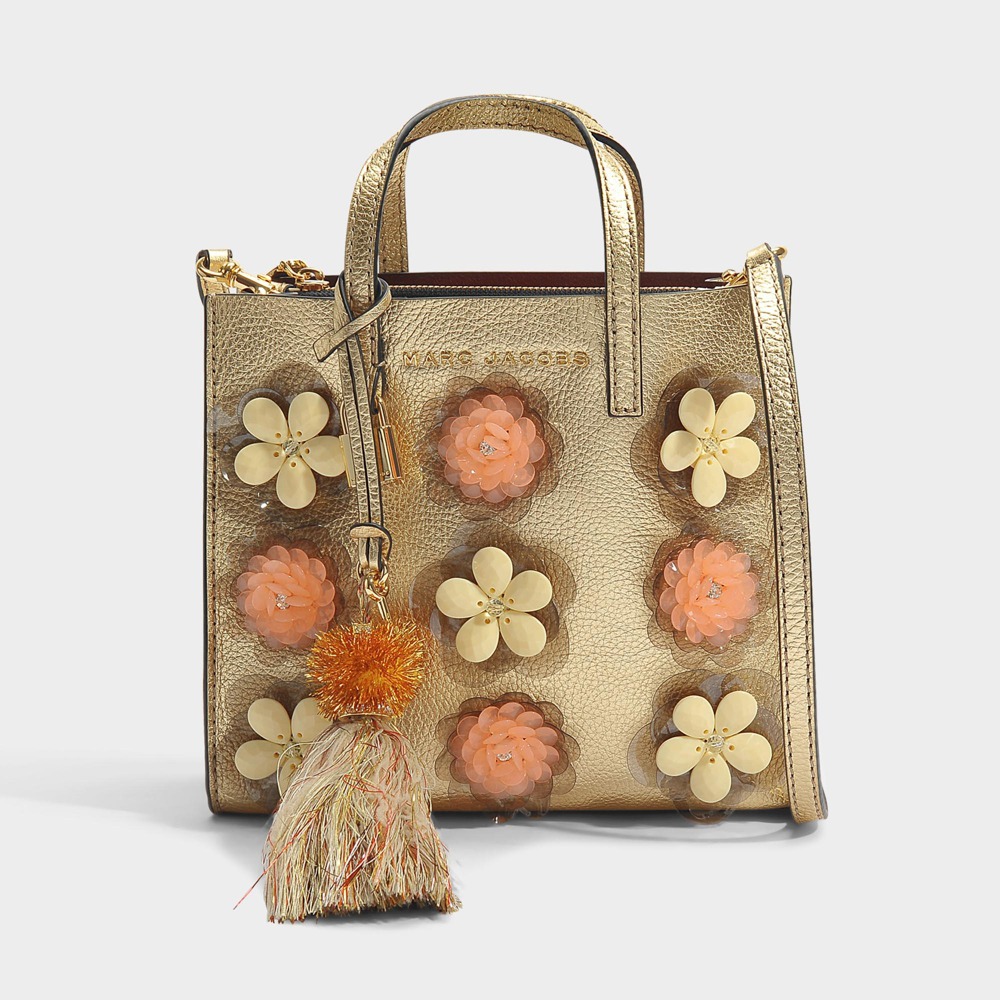 The Mini Grind Embellished Flowers Bag in Silver Cow Leather with Metallic Foil Marc Jacobs SMxGWfTHj9