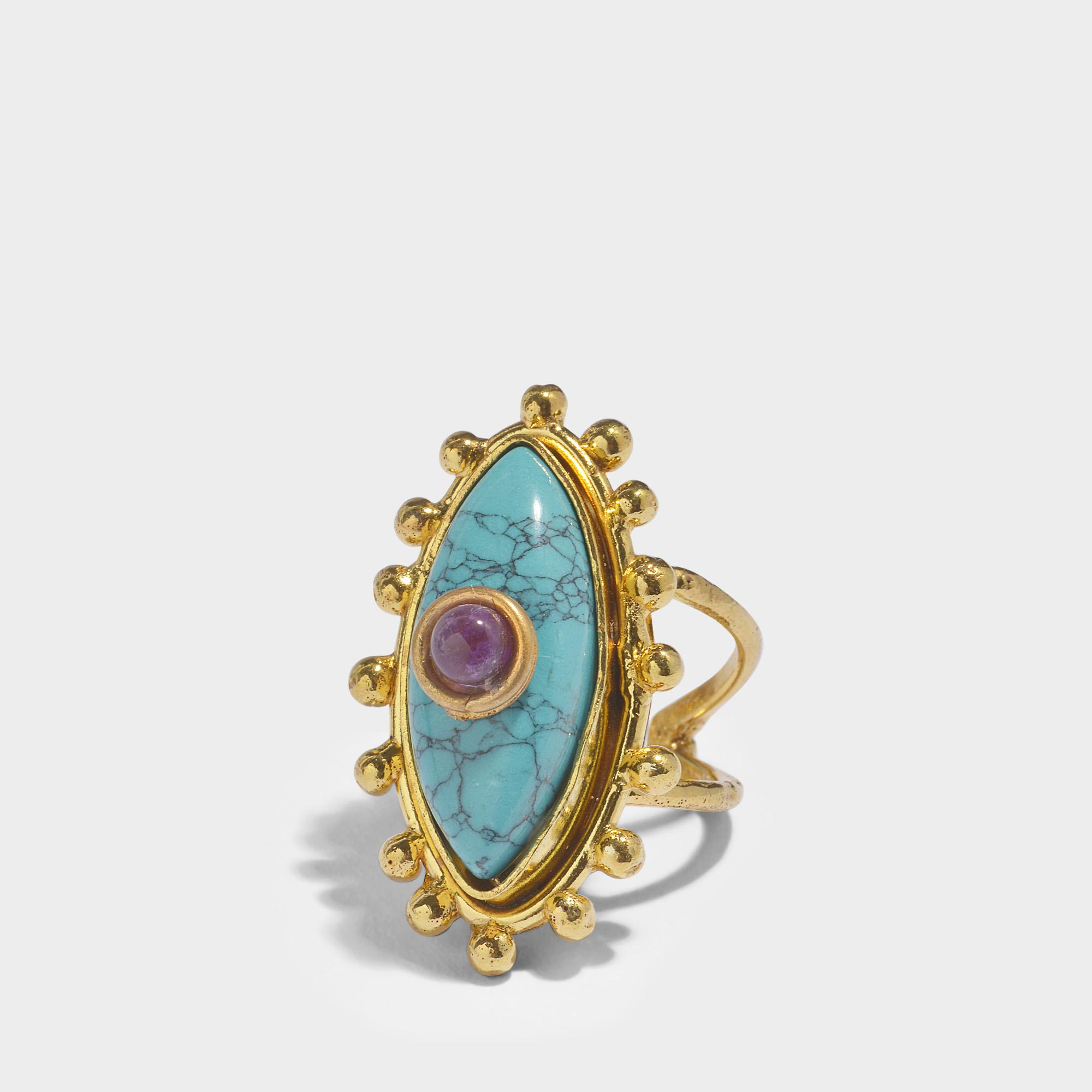Sylvia Toledano The Third Eye Ring in Gold-Plated Brass with Turquoise and Ametyst yV6ys6NvN6