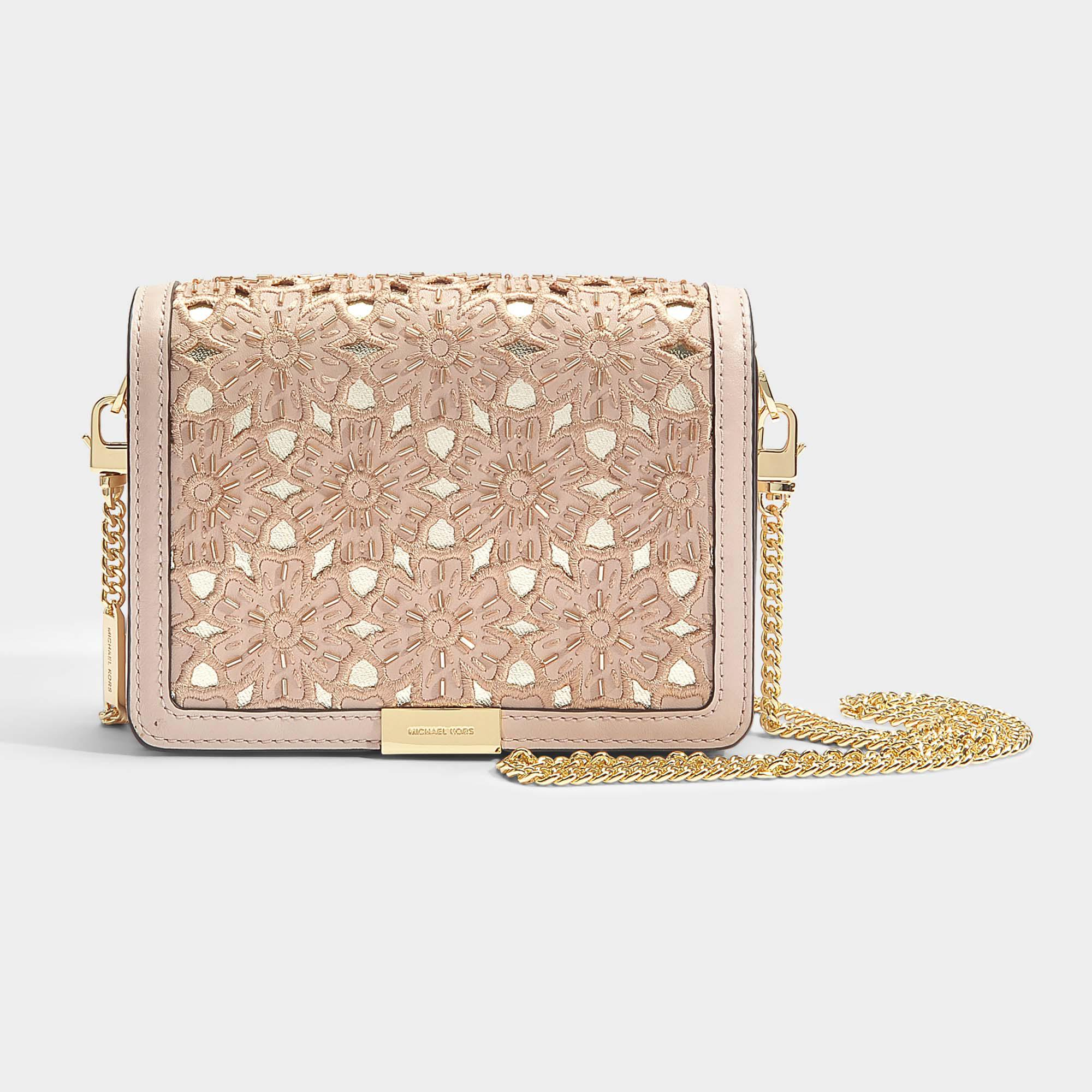 Jade Medium Gusset Clutch in Soft Pink Flower Embroidered Smooth Vegetable Leather Michael Michael Kors ycFTqED8B