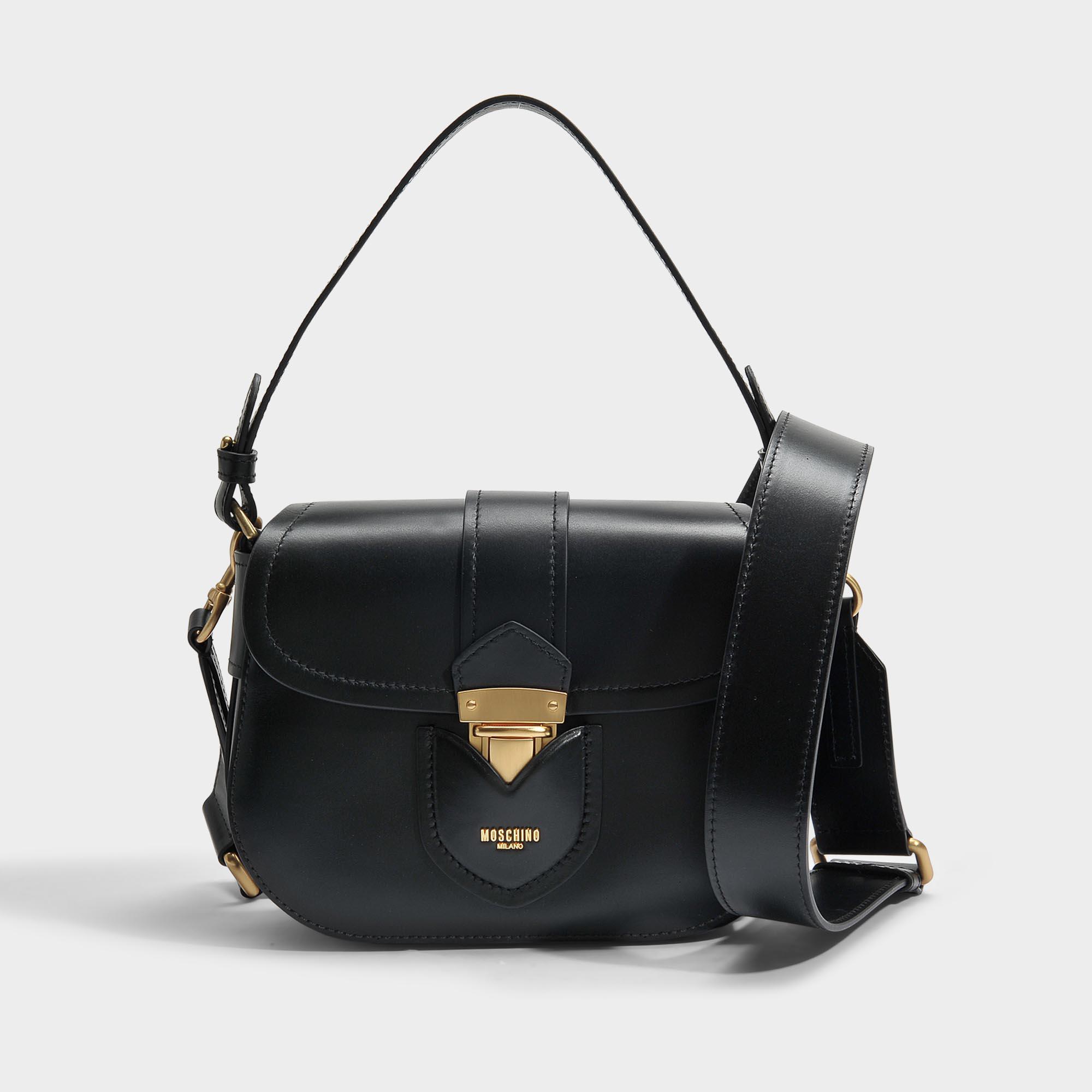 Hidden Lock Small Shoulder Bag in Black Calfskin Moschino UekXXbO7I