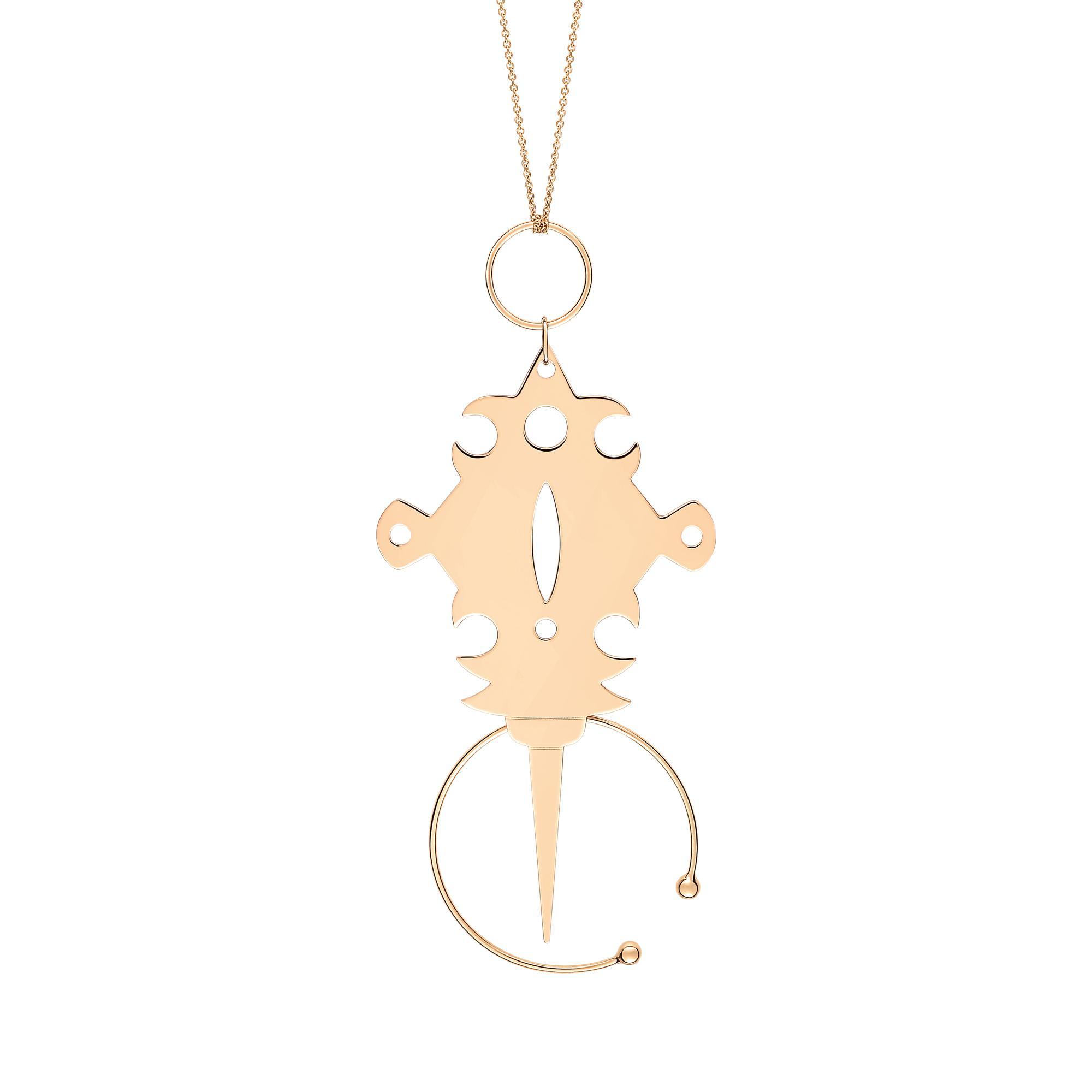 Jumbo Tanger 18-karat rose gold necklace Ginette NY L729yO9RUX
