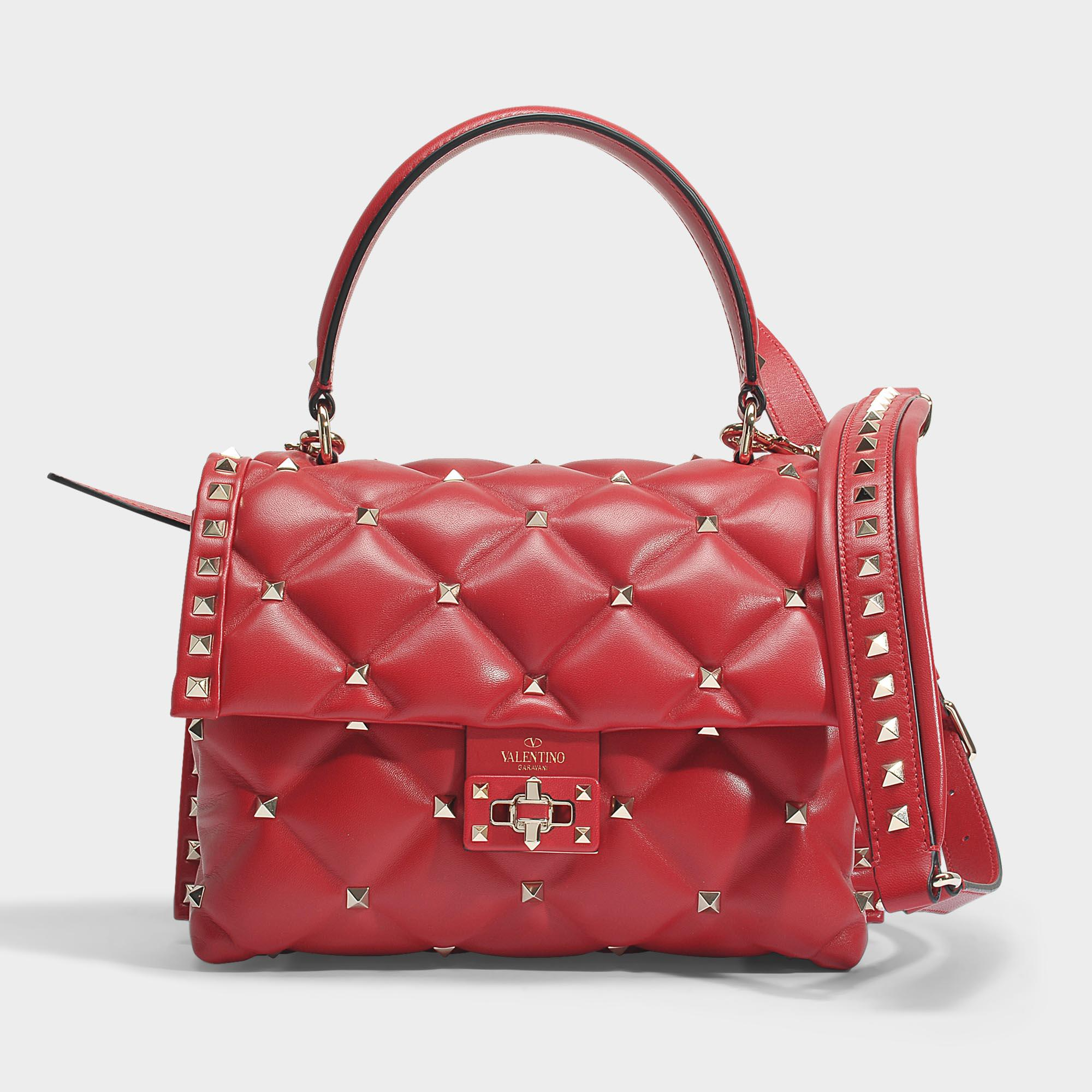 Candy Lock Single Handle Bag in Dusty Rose and Red Two-Tone Calf Valentino 1U8Rn