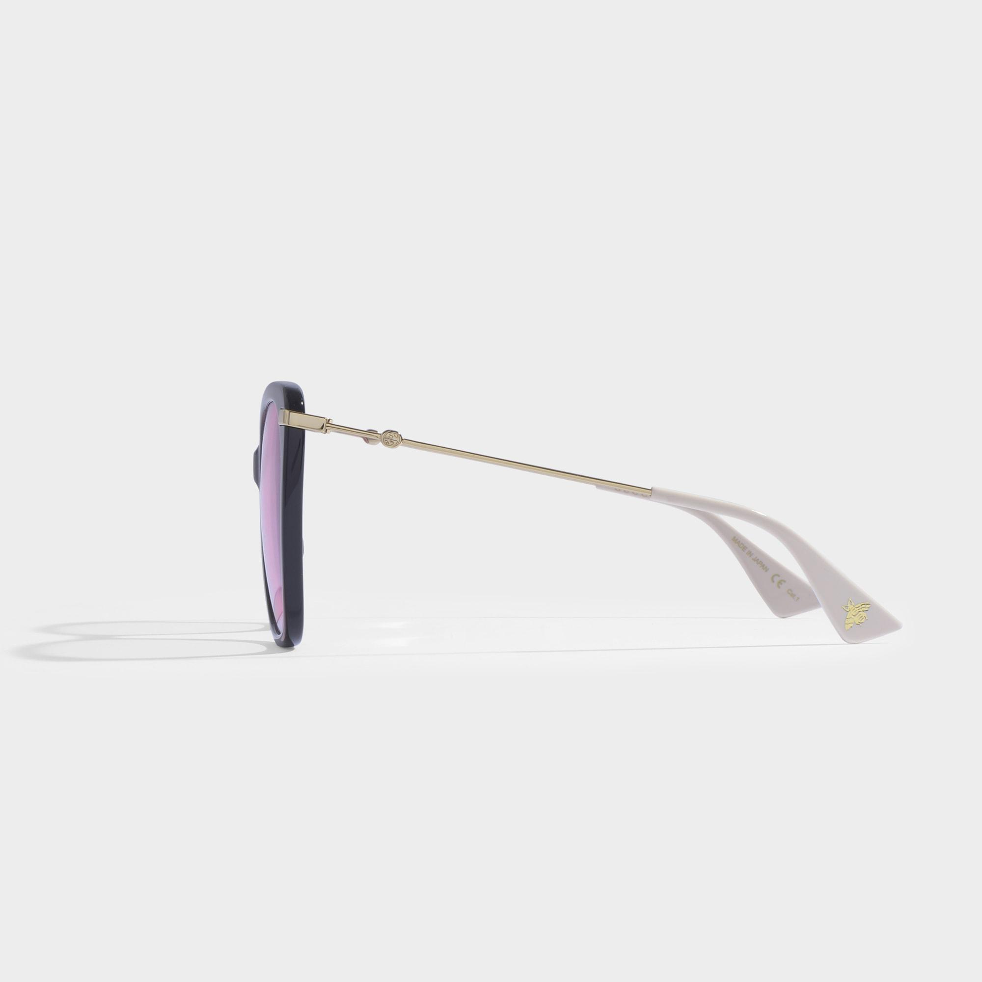 ccbfb3c8f Gucci - Cat-eye Sunglasses In Black Acetate With Pink Lenses - Lyst. View  fullscreen