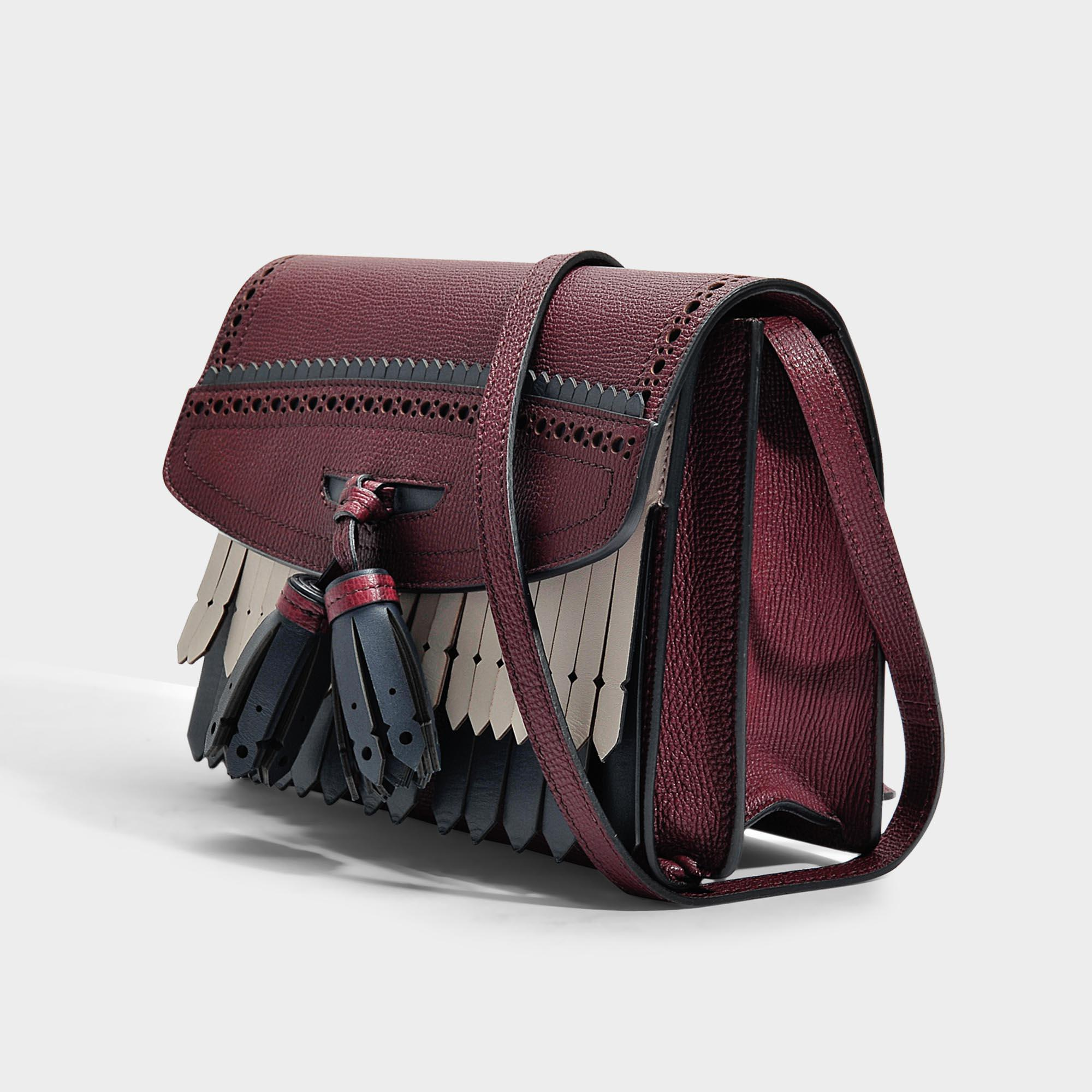 Lyst - Burberry Small Macken Crossbody Bag In Mahogany Red Grained ... f02c3a1b6ce14