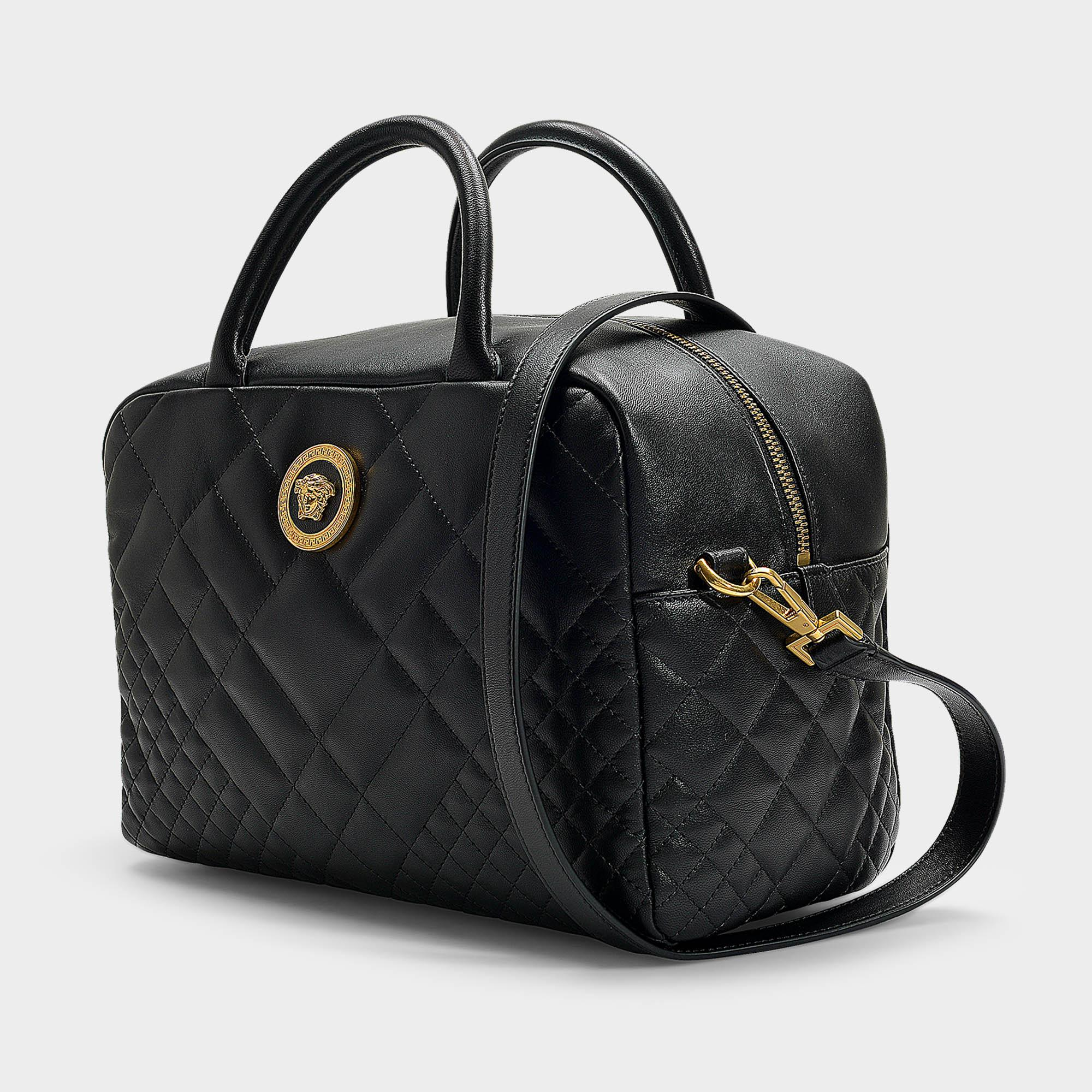49b520bdee49 Versace Bowling Bag In Black Quilted Lamb Leather in Black - Lyst