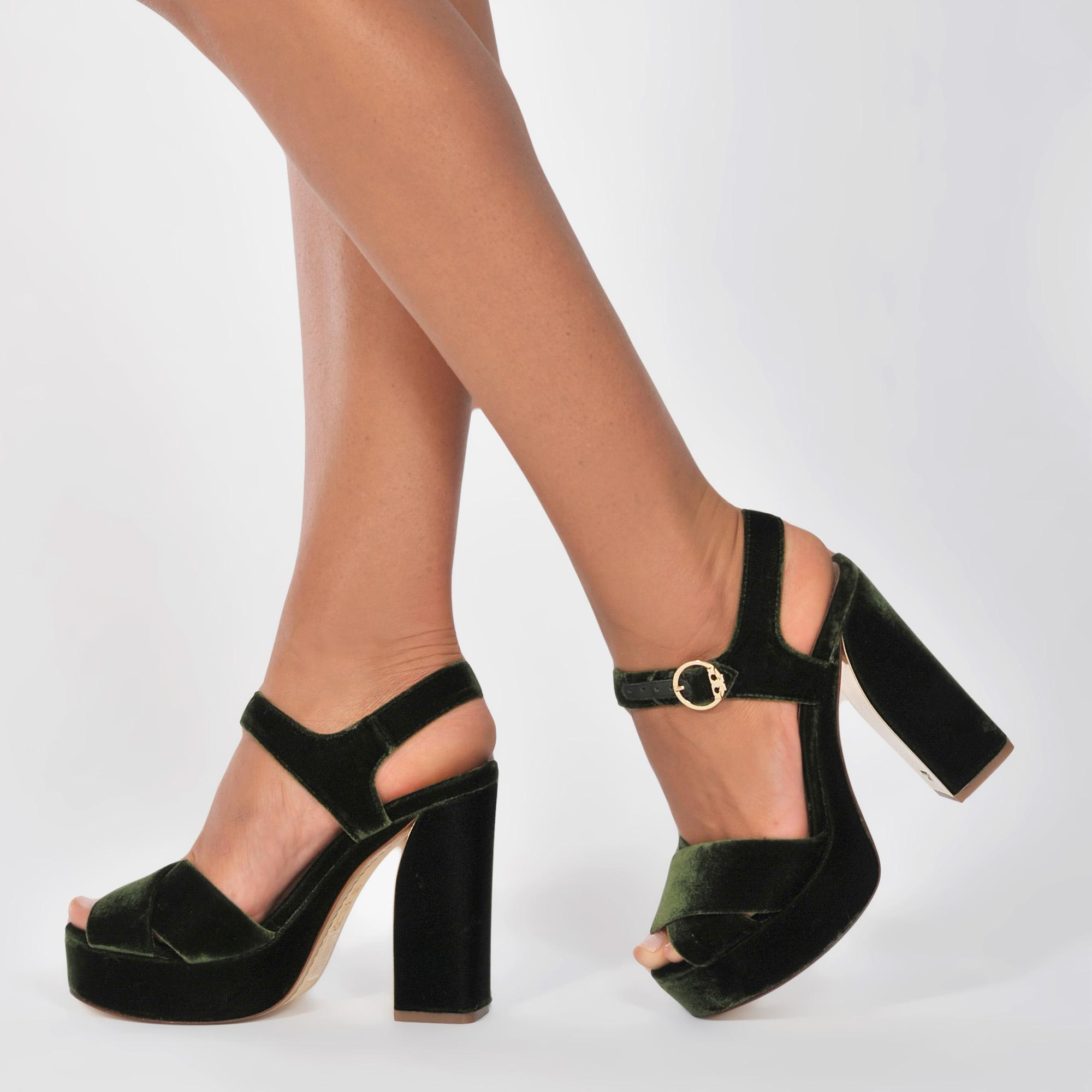 04d1f6f18cd Lyst - Tory Burch Loretta Velvet Platform Sandal in Black