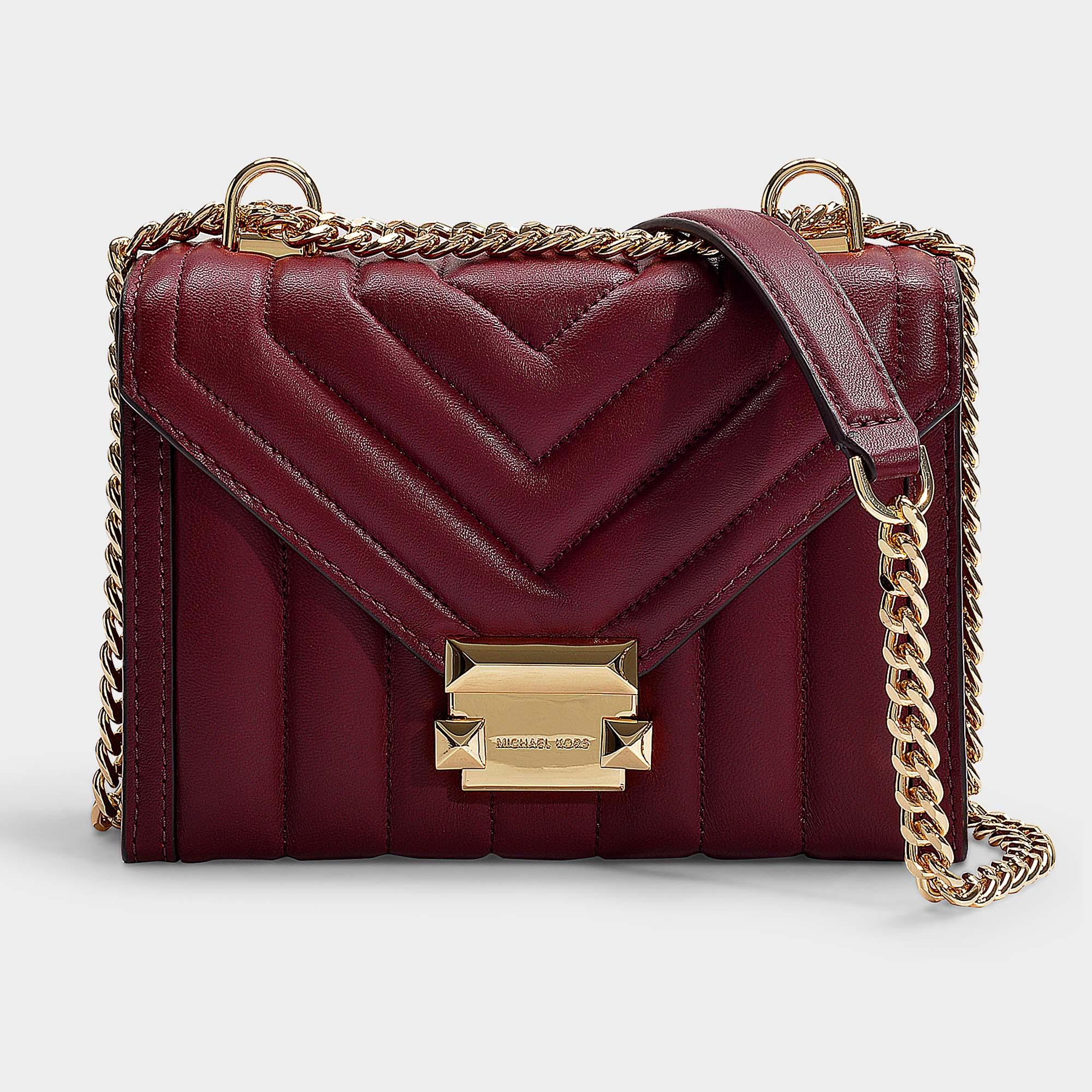 ebe0ca7c6e539b MICHAEL Michael Kors. Women's Red Whitney Small Shoulder Bag In Oxblood  Quilted Lambskin