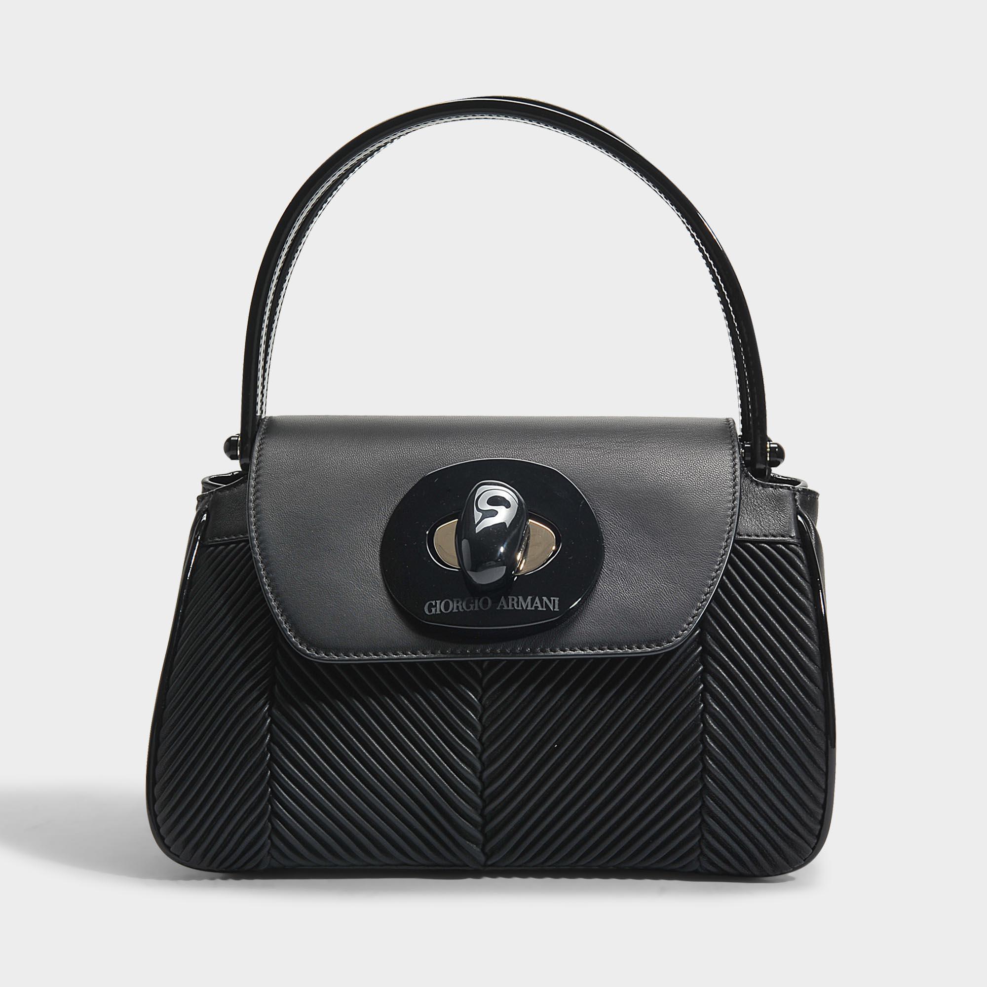 b024965556e Lyst - Sac musa en cuir nappa plissé noir Giorgio Armani en coloris Noir