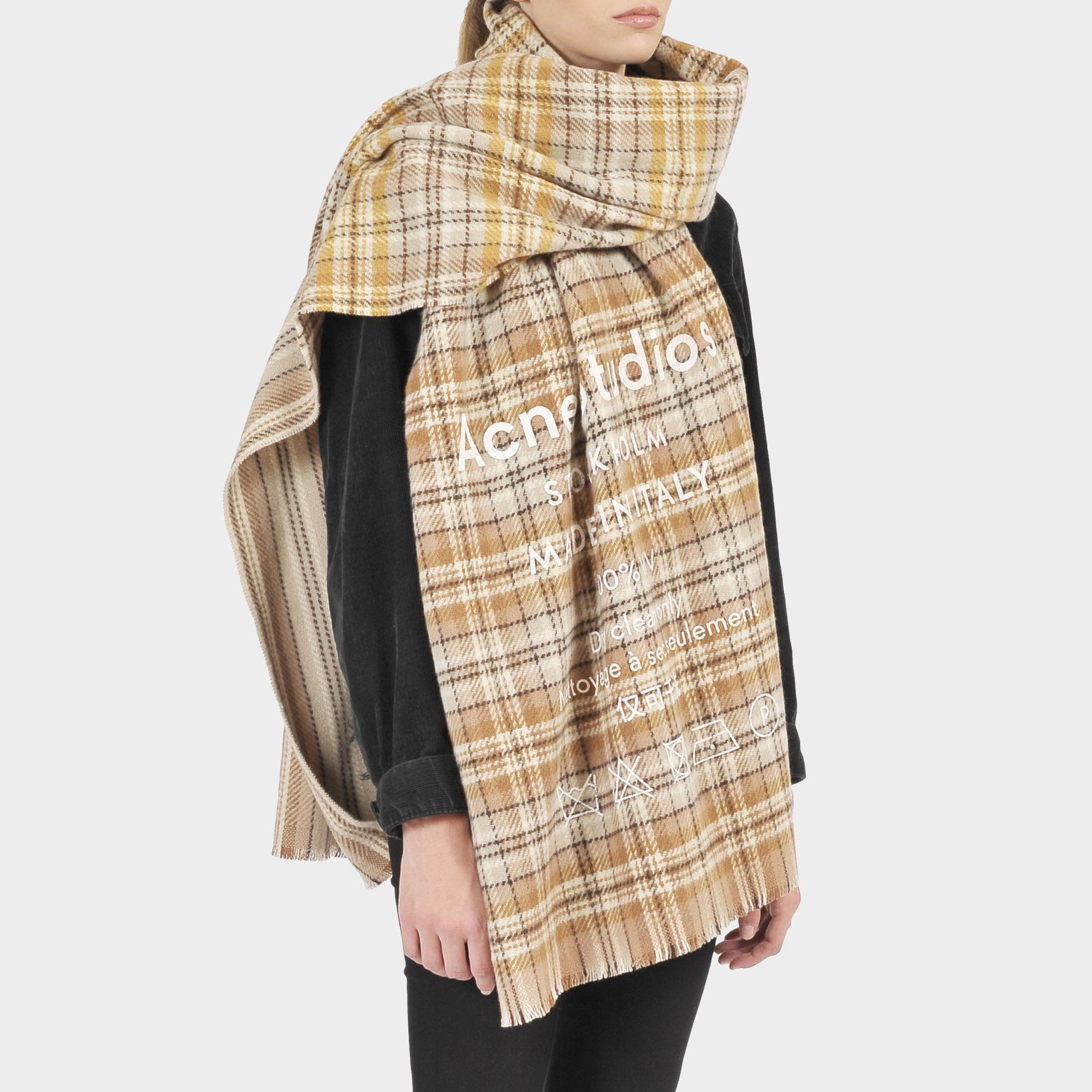 e00345d5351 Acne Studios Cassiar Check Scarf In Beige And Brown Wool in Natural ...