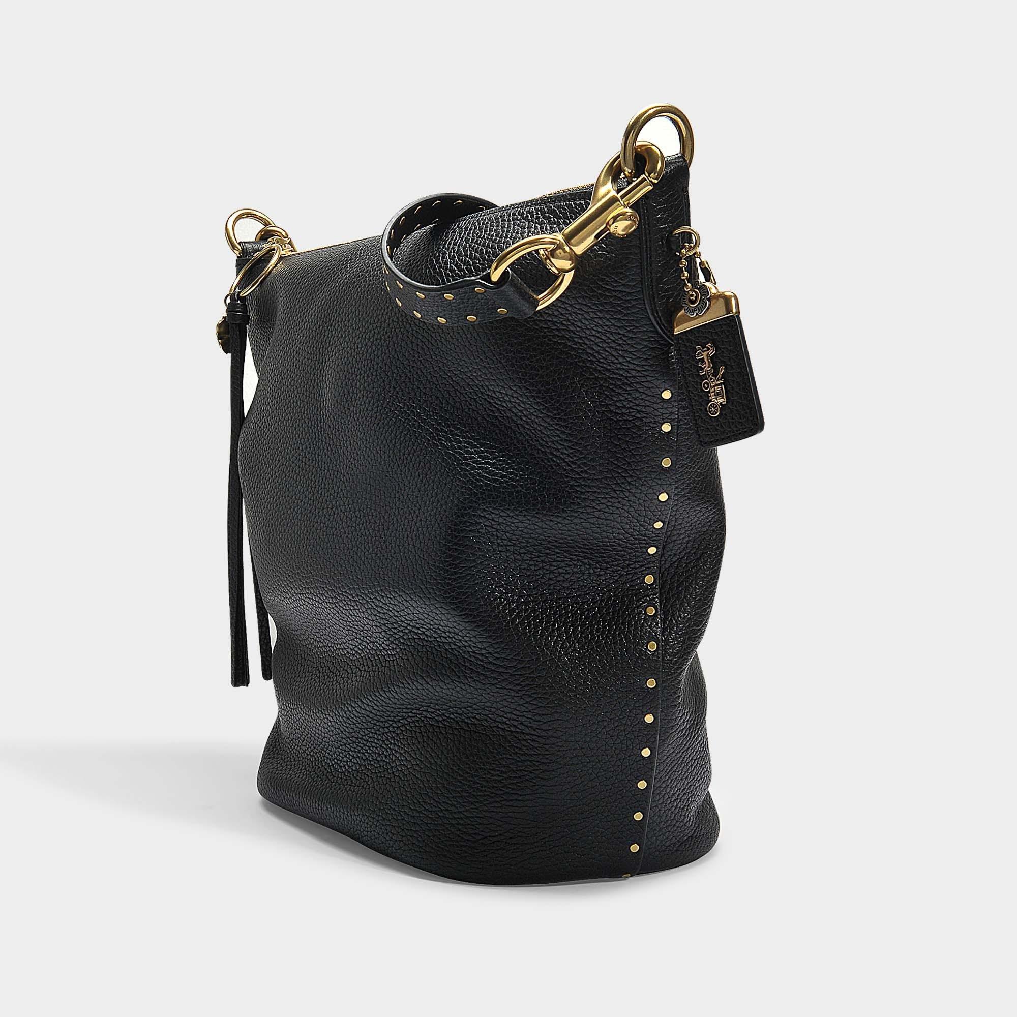 138fb36675007 Lyst - COACH Border Rivets Duffle Bag In Black Calfskin in Black