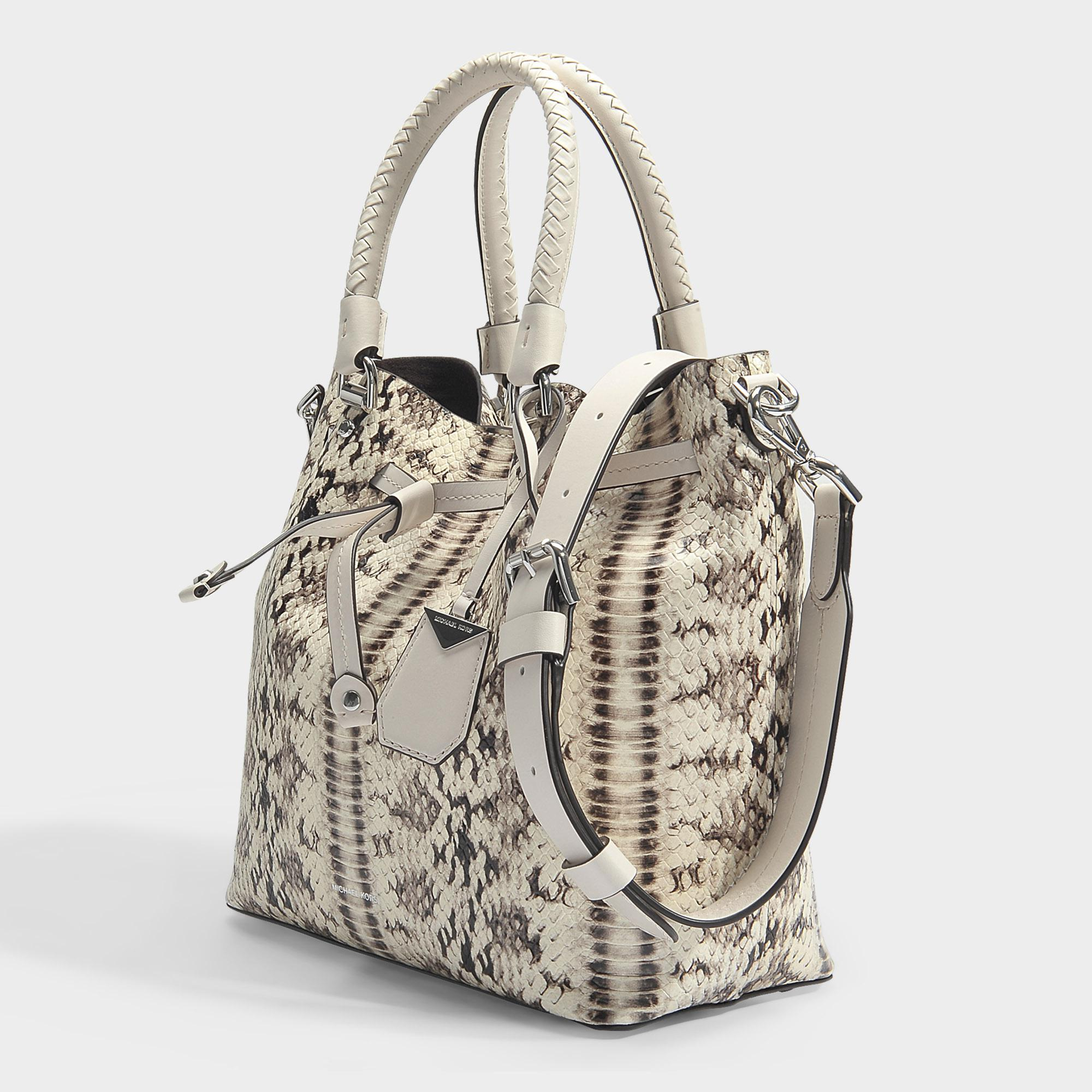Blakely Medium Bucket Bag in Natural and Light Cream Marked Embossed Snake Michael Michael Kors