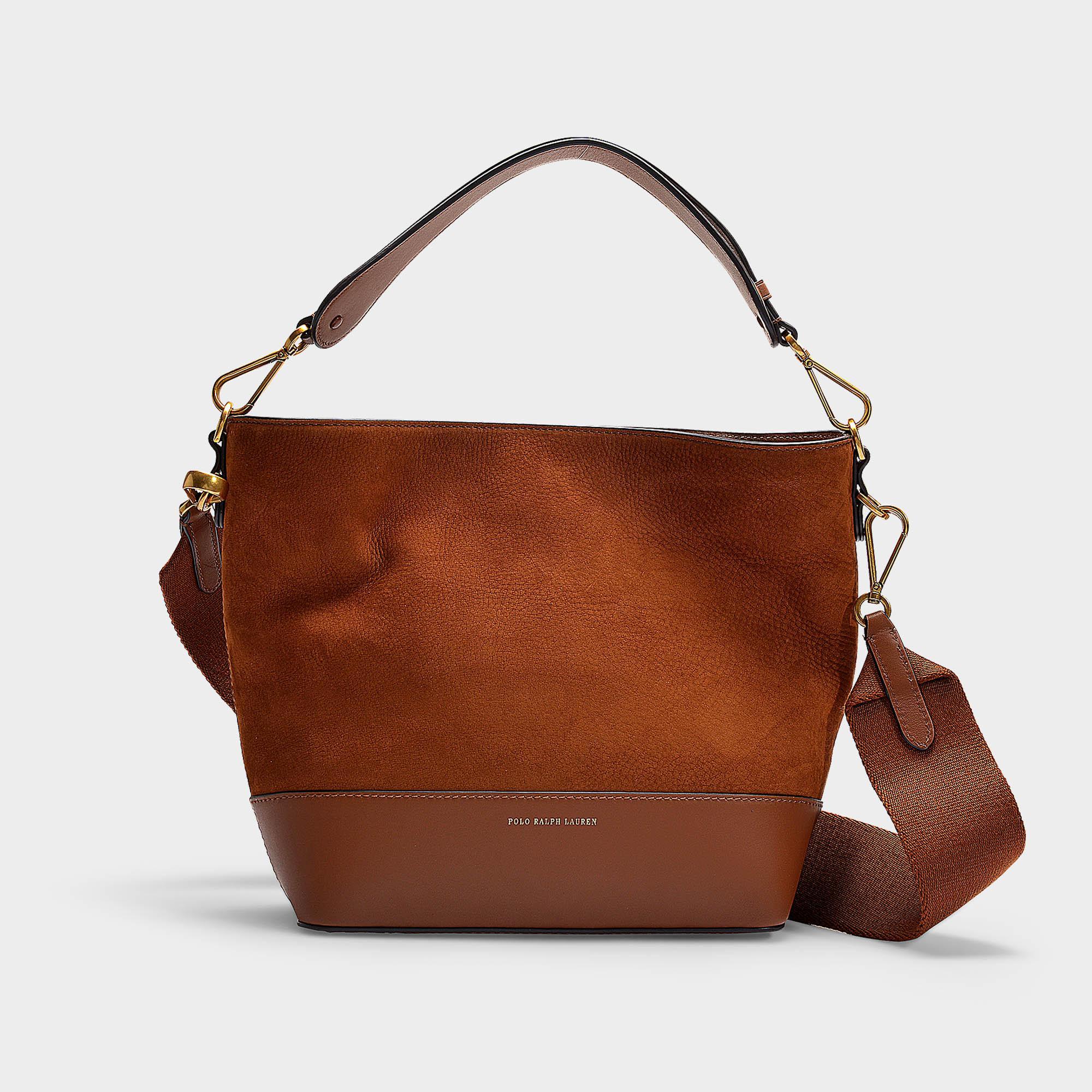 2501b013b01c Polo Ralph Lauren - Brown Sullivan Bucket Hobo Small Bag In Saddle Nubuck  And Nappa Leather. View fullscreen