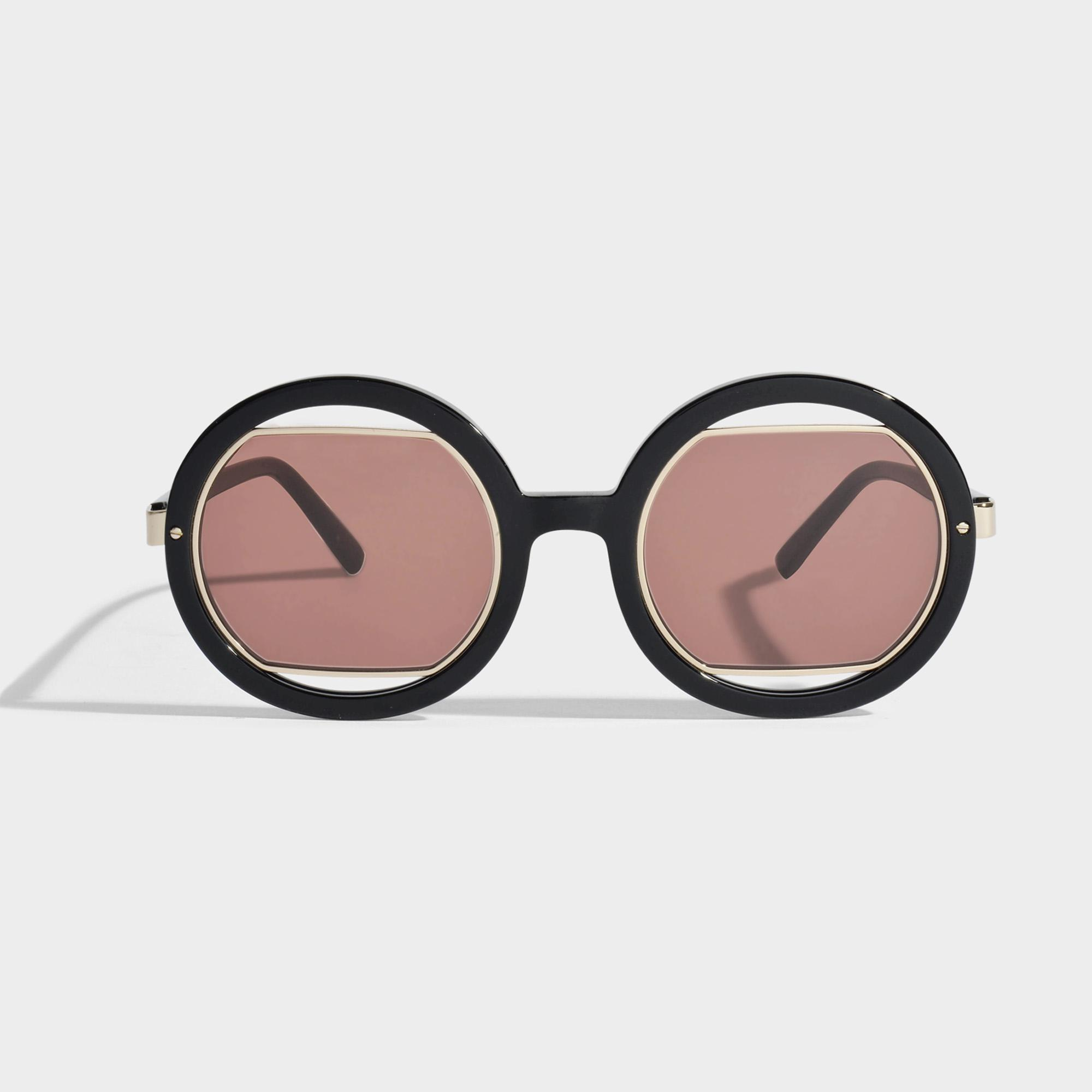 054fea3d164 Marni Show Round Sunglasses In Black Acetate And Metal - Lyst