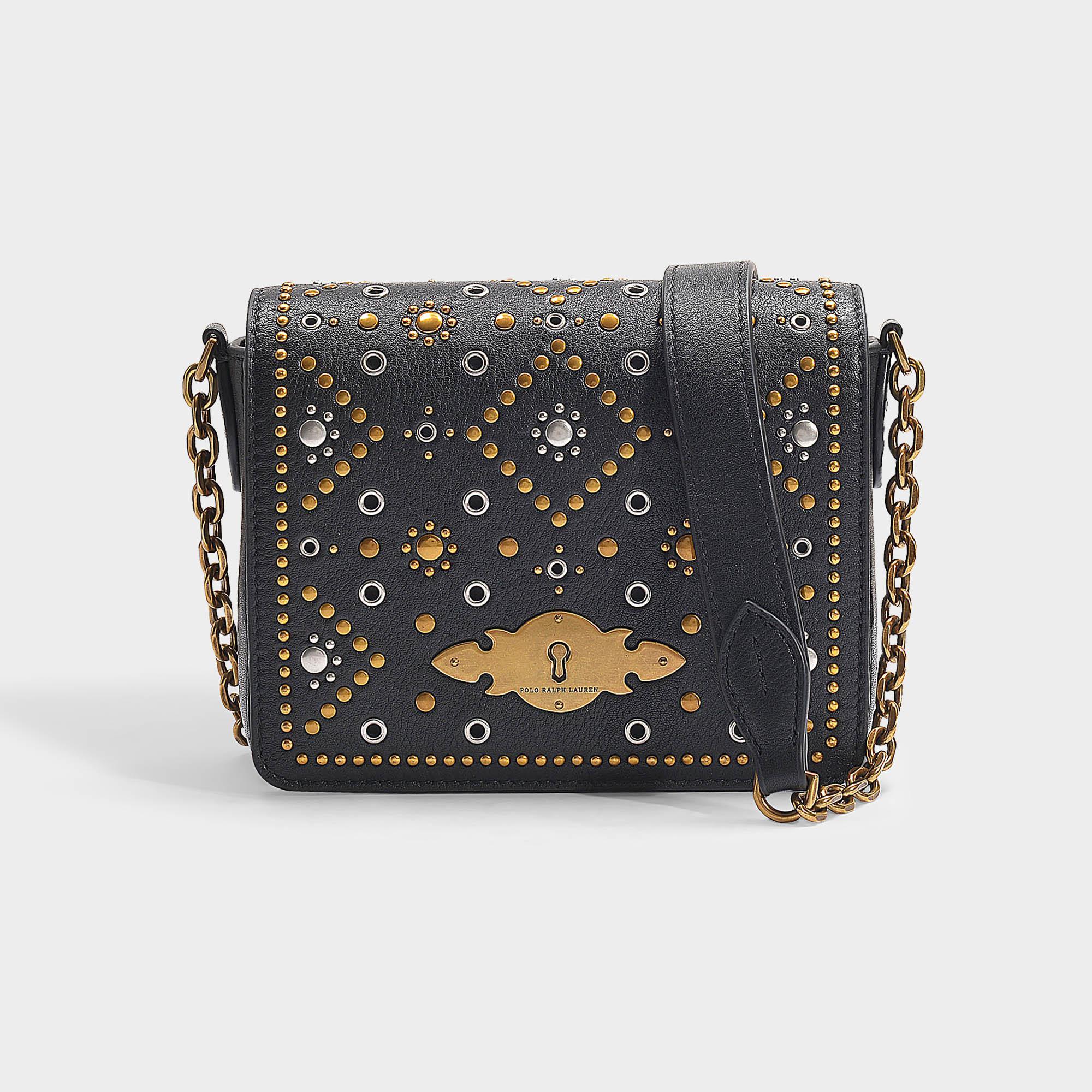 cef368d5ef994 Polo Ralph Lauren Handtasche mit Kettenriemen Brooke aus schwarzem ...