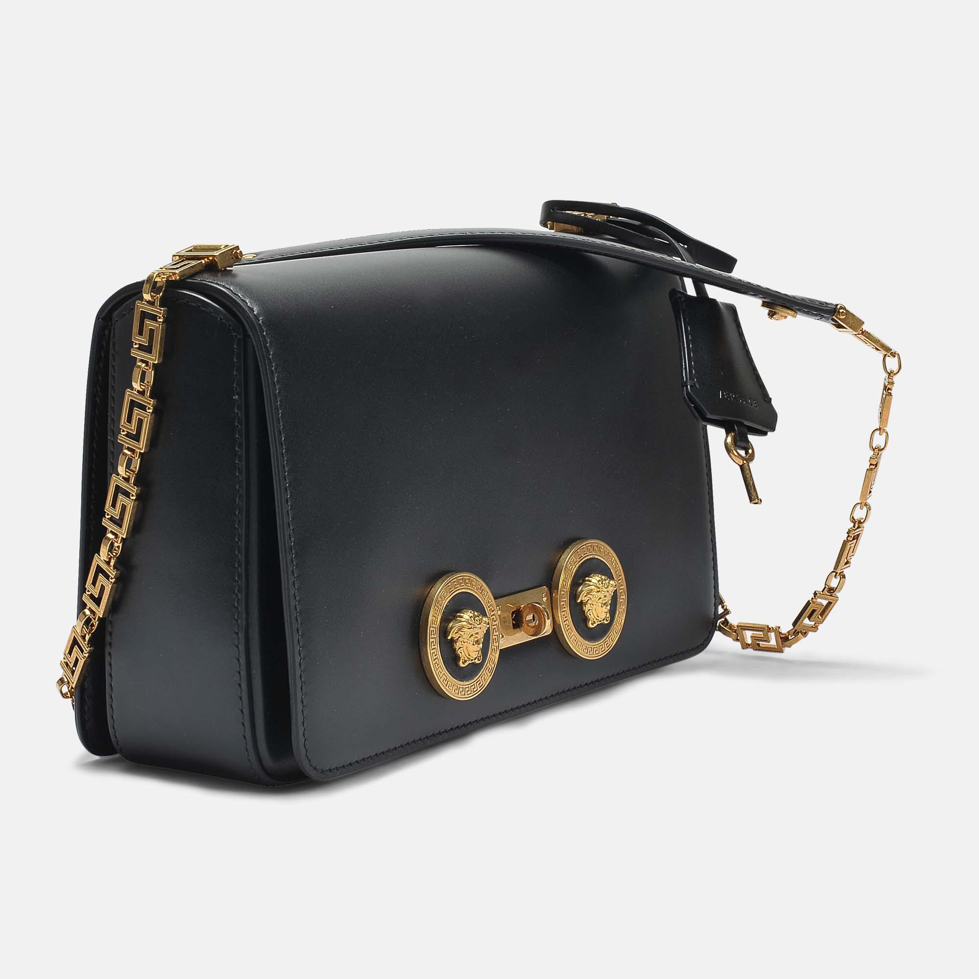 Versace Tribute Icon Medium Shoulder Bag in Black Calfskin Versace FUfQHfu6PH