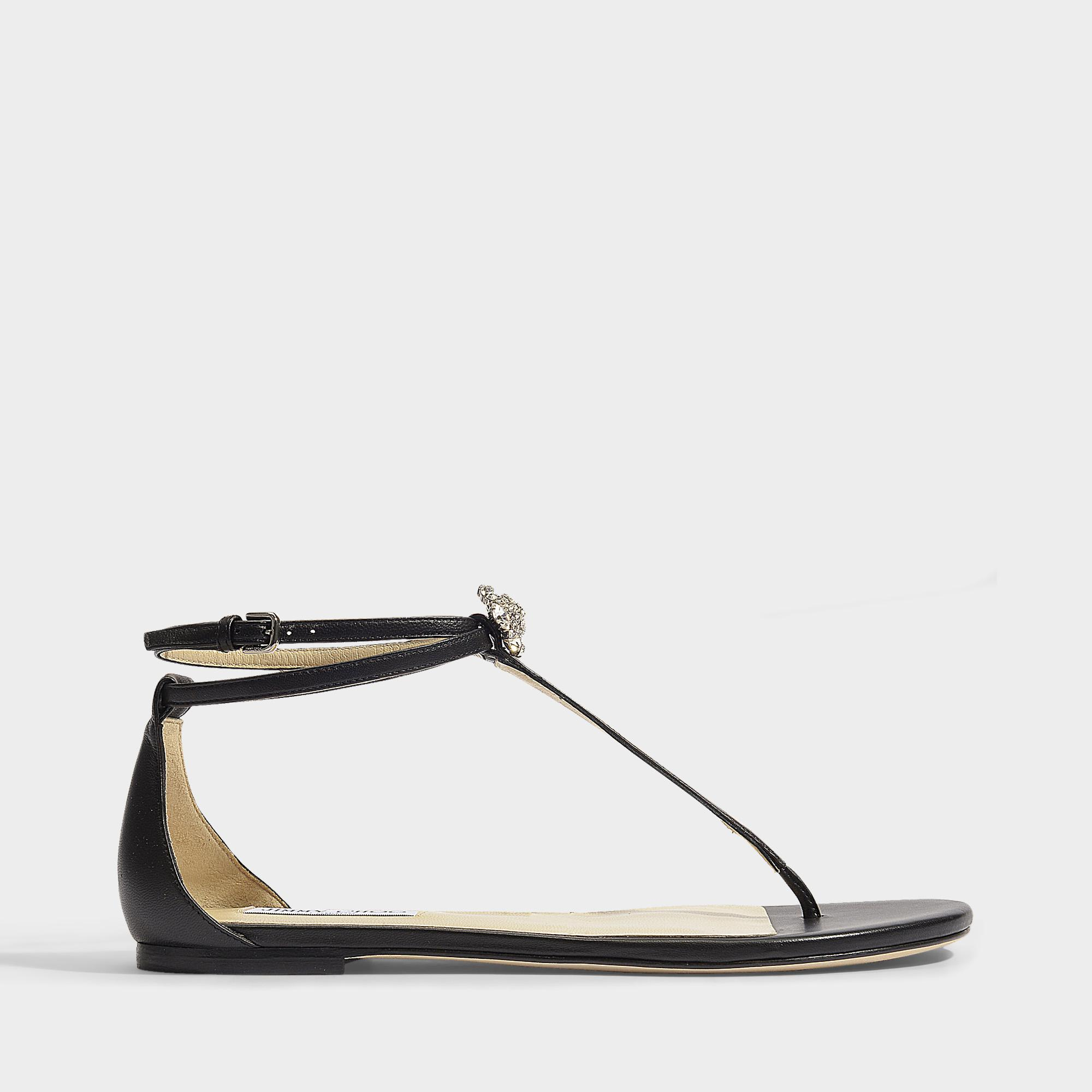 c175d13d3ff31 Jimmy Choo Afia Flat Sandals In Black And Silver Nappa Leather And ...