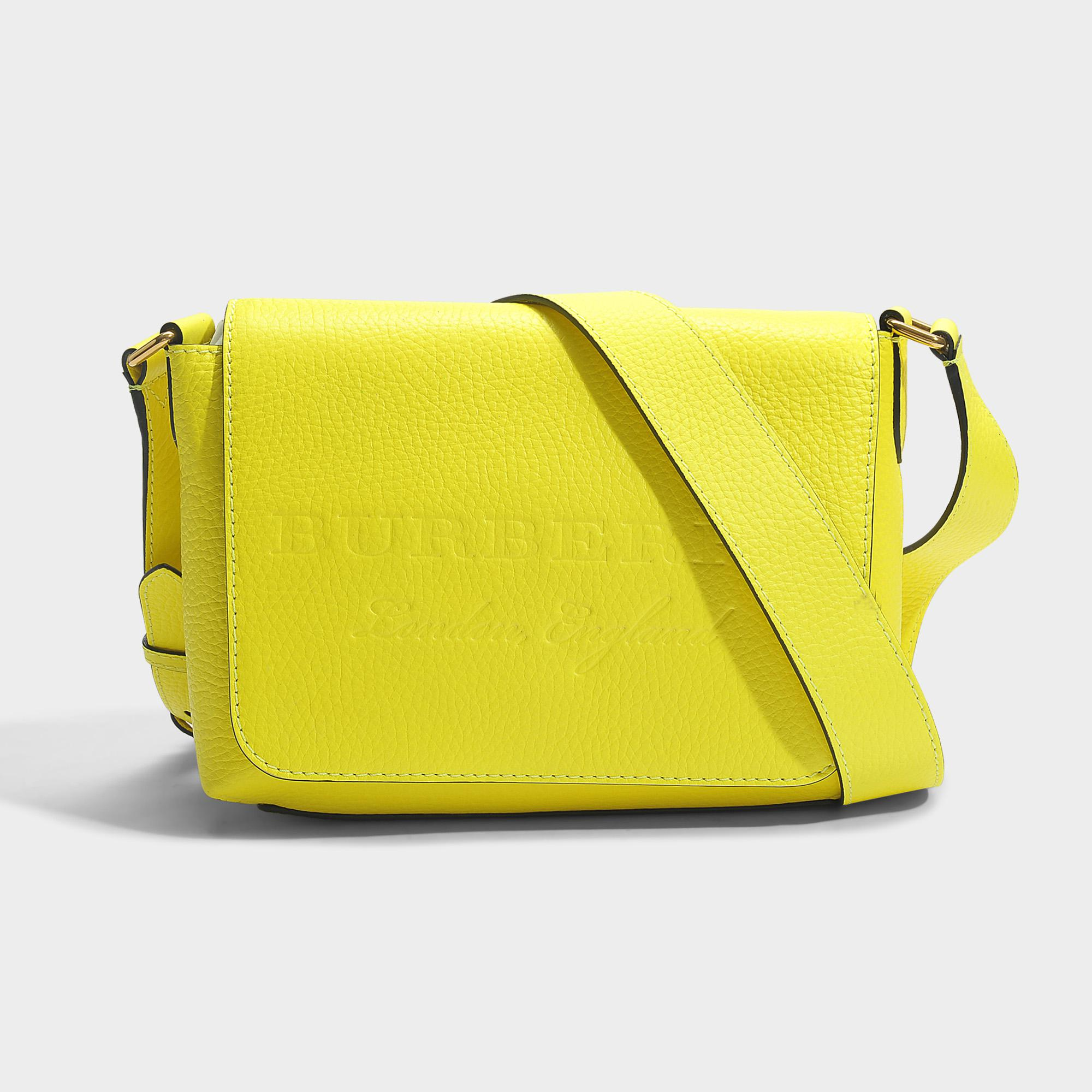 Lyst - Burberry Small Burleigh Crossbody Bag In Neon Yellow Grained ... fced2ab1059c4