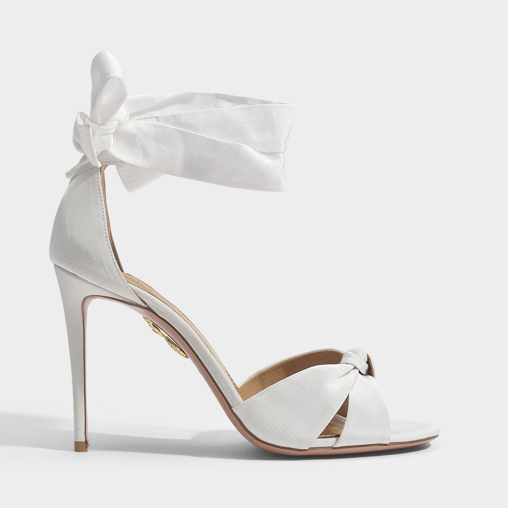 ca5c2ab002d0 Lyst - Aquazzura All Tied Up 105 Sandals In White Gros Grain in White