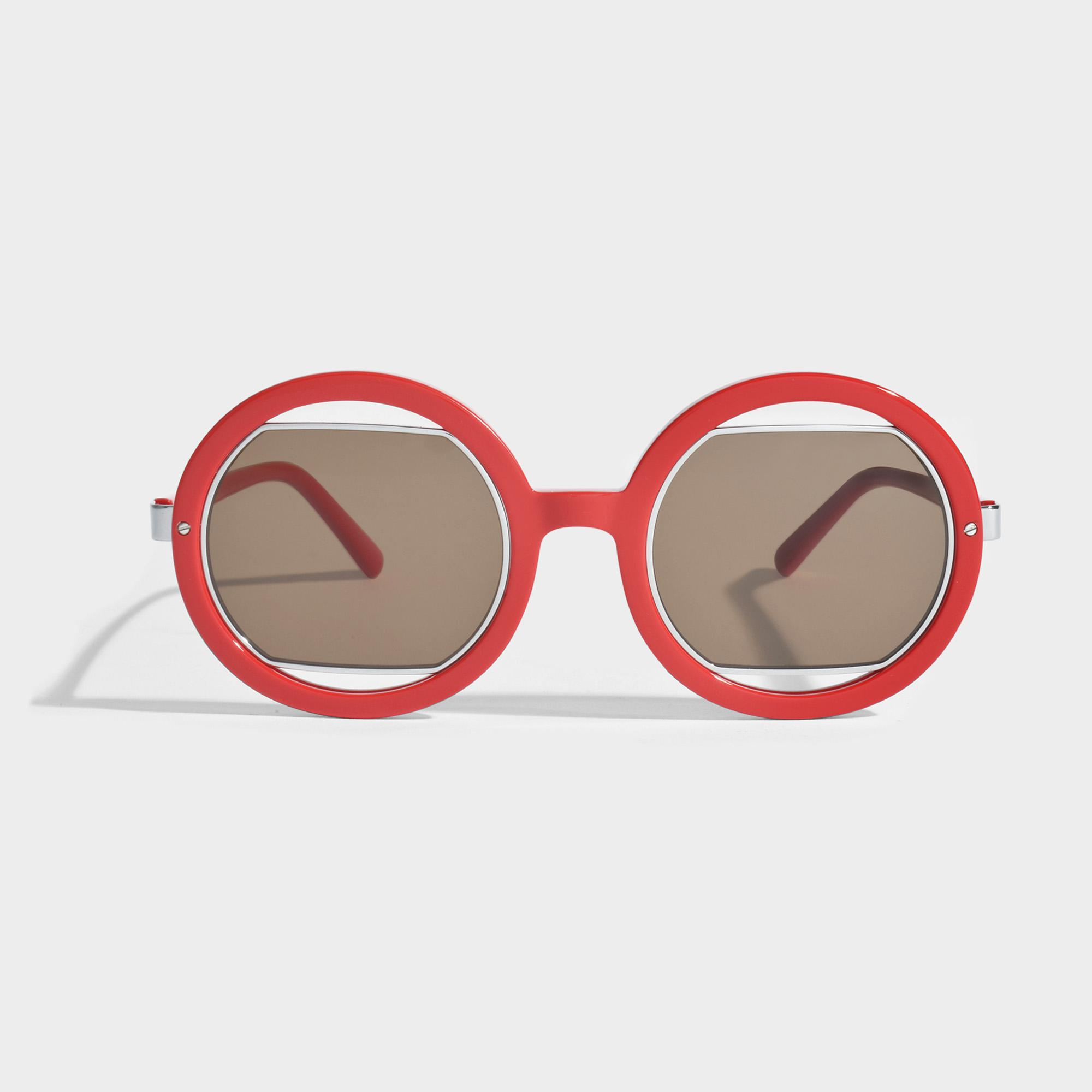 7d970d06d8c Lyst - Marni Show Round Sunglasses In Coral Acetate And Metal