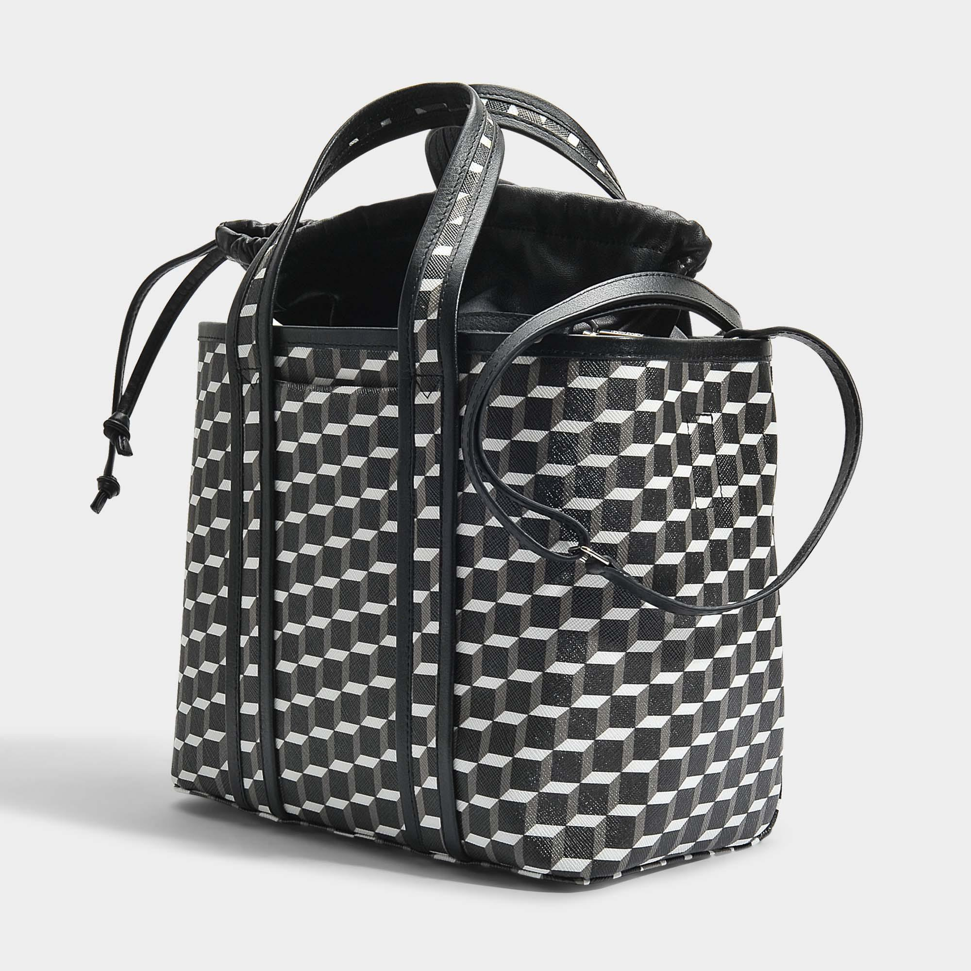 Tote Bag in Black and White Cube Canvas and Calfskin Pierre Hardy Nhxkuwly