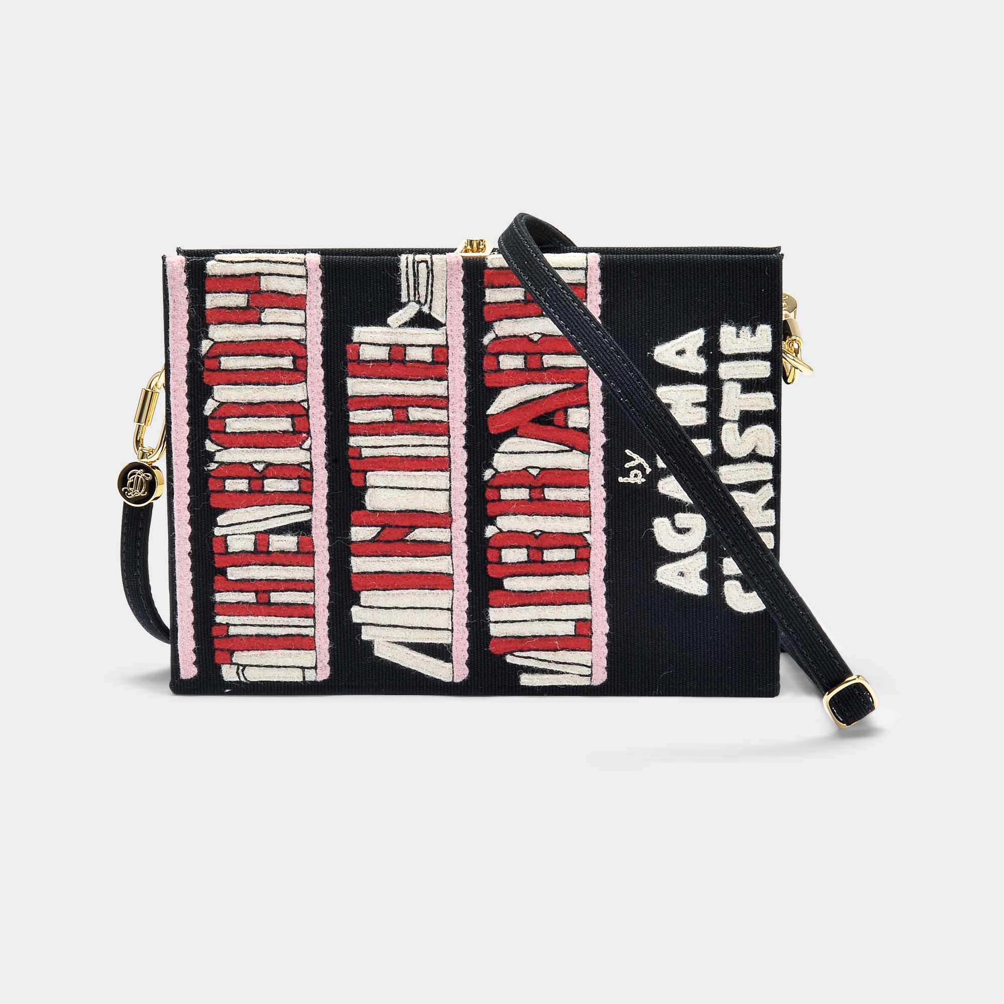 The Body in The Library Book Clutch with Strap in Black Cotton and Brass Olympia Le-Tan IrwhuHNKlu