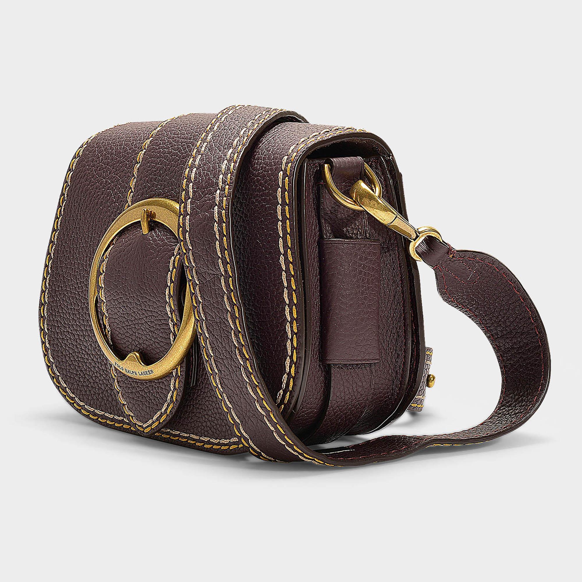 e5bc14184d Lyst - Polo Ralph Lauren Lennox Medium Saddle Crossbody Bag In Wine ...