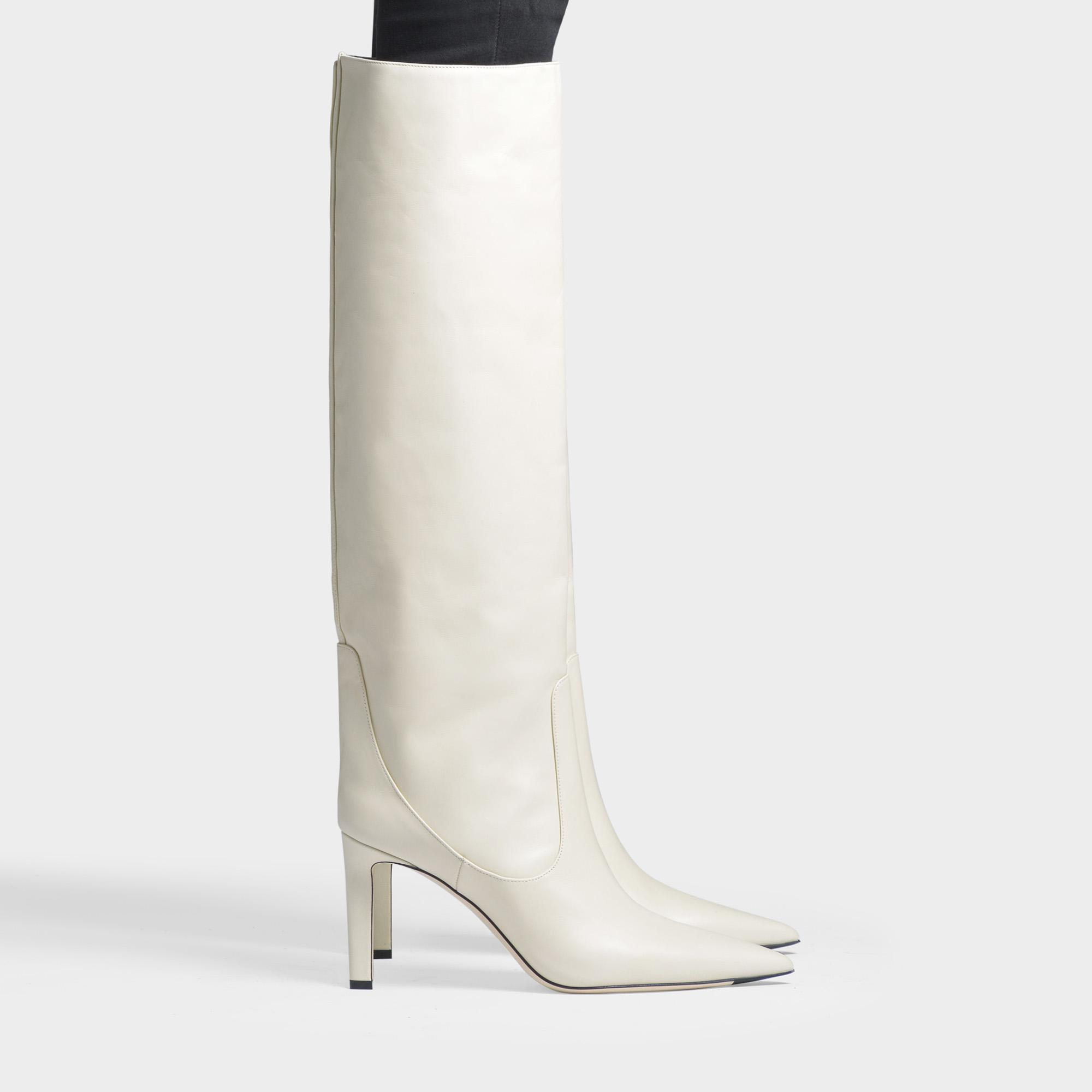 1396eeac5b9 Lyst - Jimmy Choo Mavis 85 Leather Boots In Linen Smooth Leather in ...
