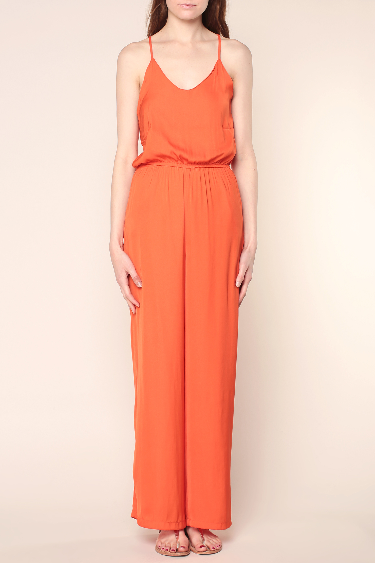 vero moda jumpsuit in orange lyst. Black Bedroom Furniture Sets. Home Design Ideas