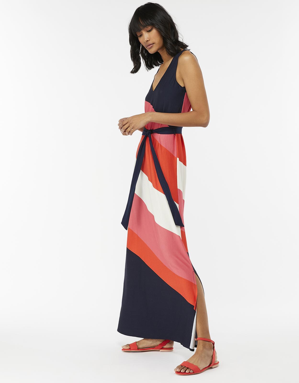 4c56dce0b Monsoon Cece Colourblock Maxi Dress in Blue - Lyst